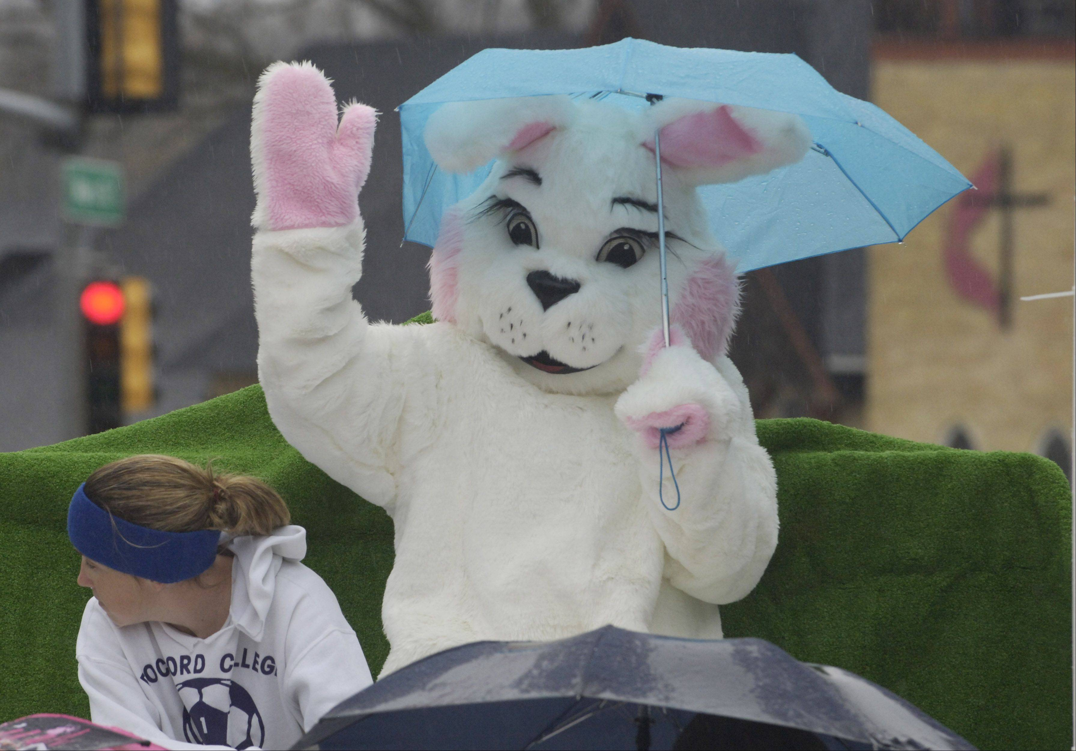 The Easter Bunny waves during a previous edition of Antioch's Easter Parade.