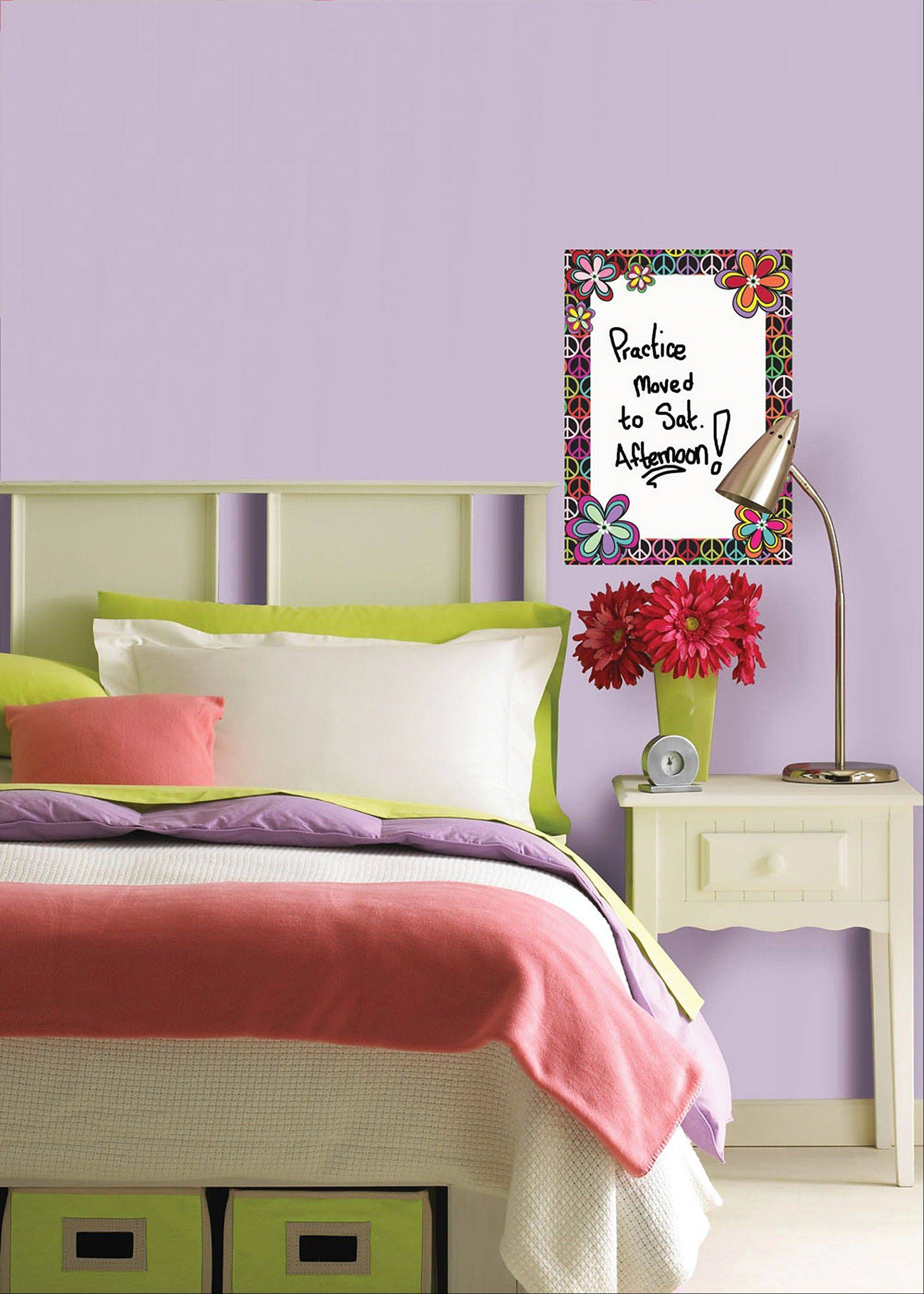 The WallPops Peace Dry-Erase Message Board decal can help a student keep track of appointments or a bedtime checklist of responsibilities.