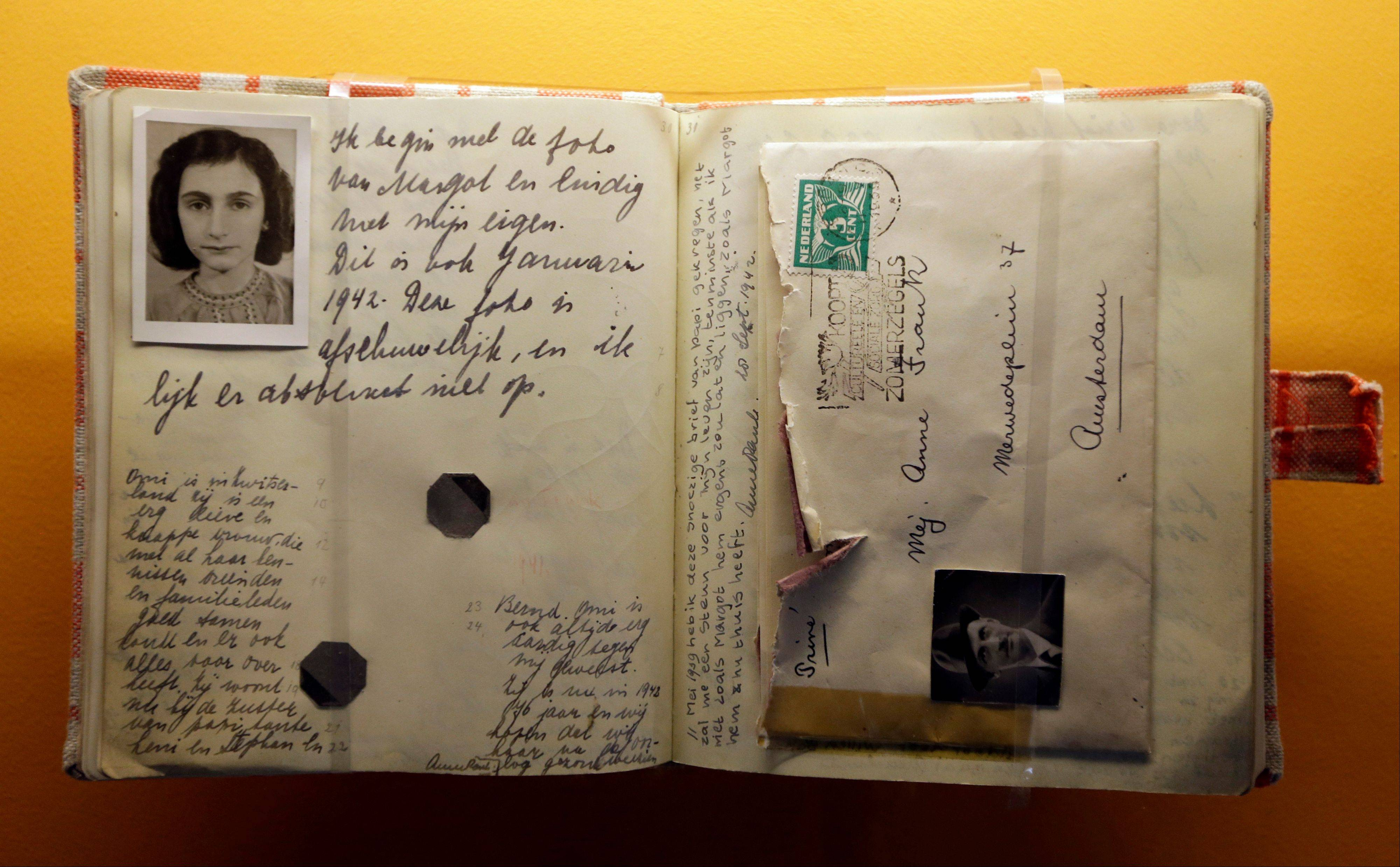 A replica of the Anne Frank Diary is displayed at the Indianapolis Children's Museum in Indianapolis.