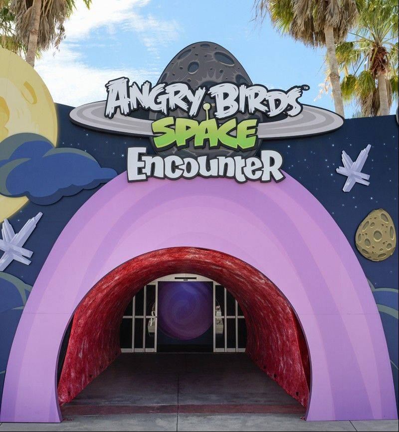 The main entrance to the Angry Birds Space Encounter at the Kennedy Space Center Visitor Complex in Cape Canaveral, Fla.