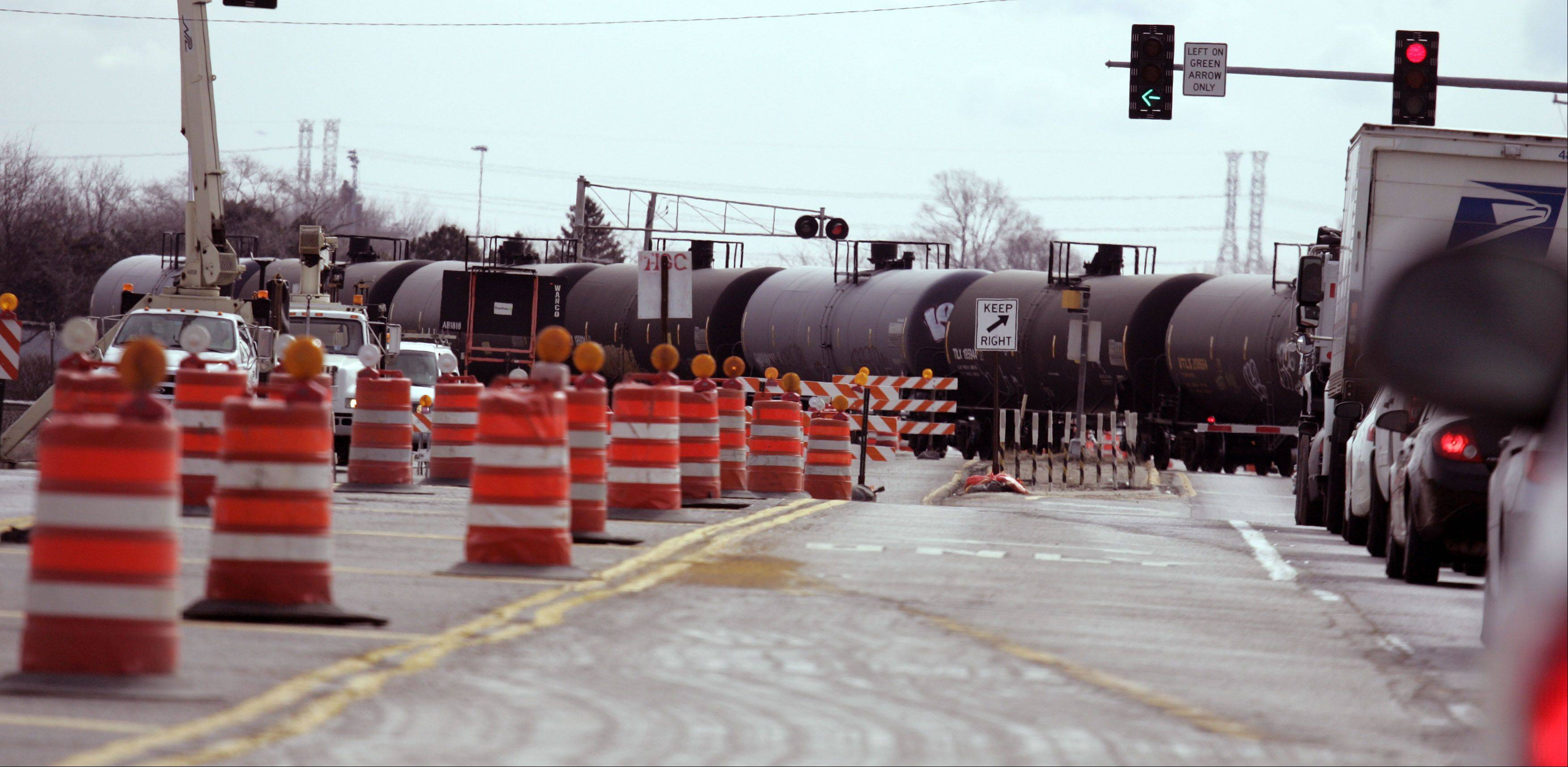 Overpass work is ongoing at the Geneva/West Chicago border at the railroad tracks on Route 38 and