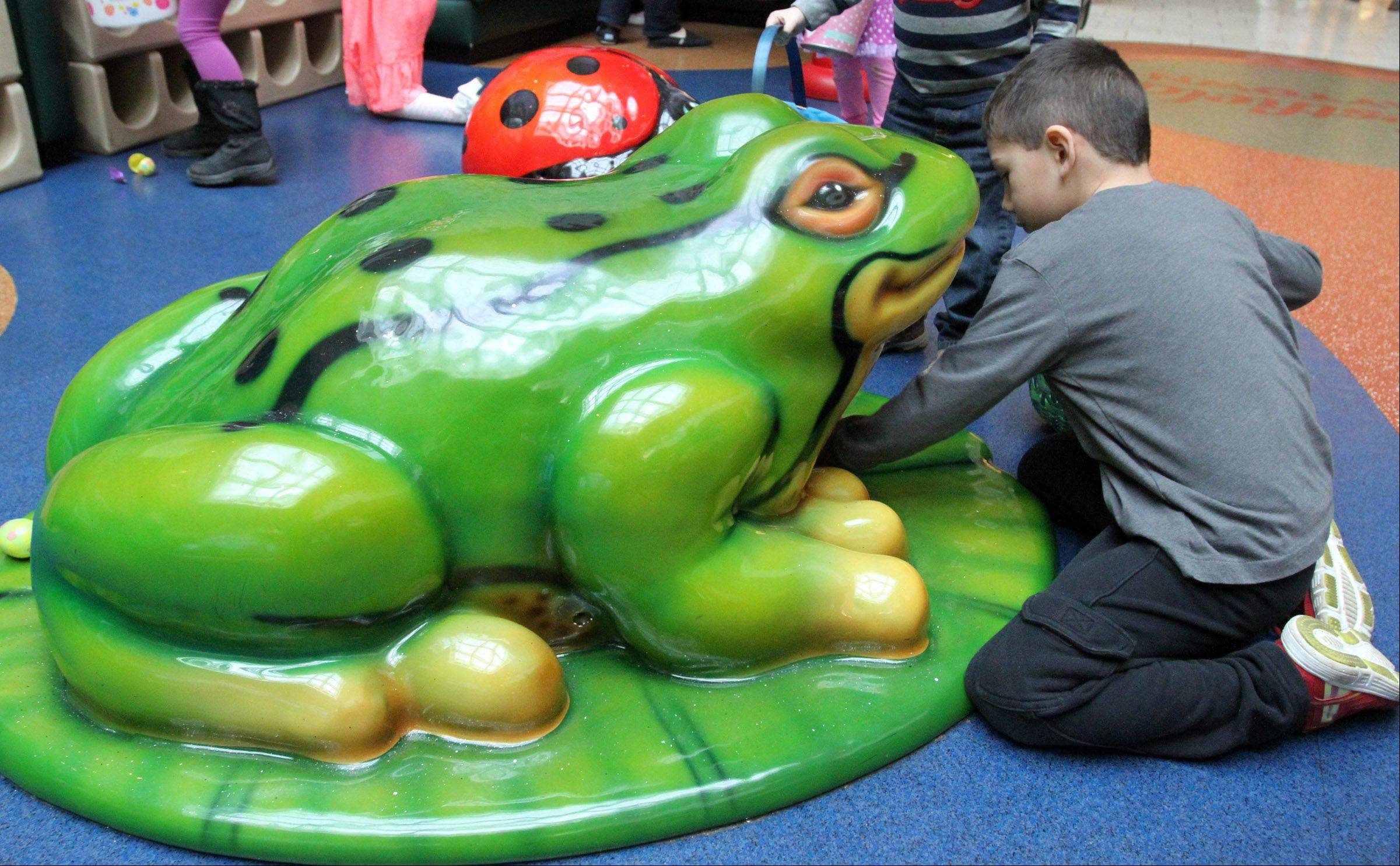 Jordan Vincent, 5, of Mundelein, finds an egg under this frog in play-town area at the annual Easter egg hunt at Westfield Hawthorn Mall in Vernon Hills on Saturday. The mall-wide egg hunt event included petting zoo, face-painting, donuts, and music.