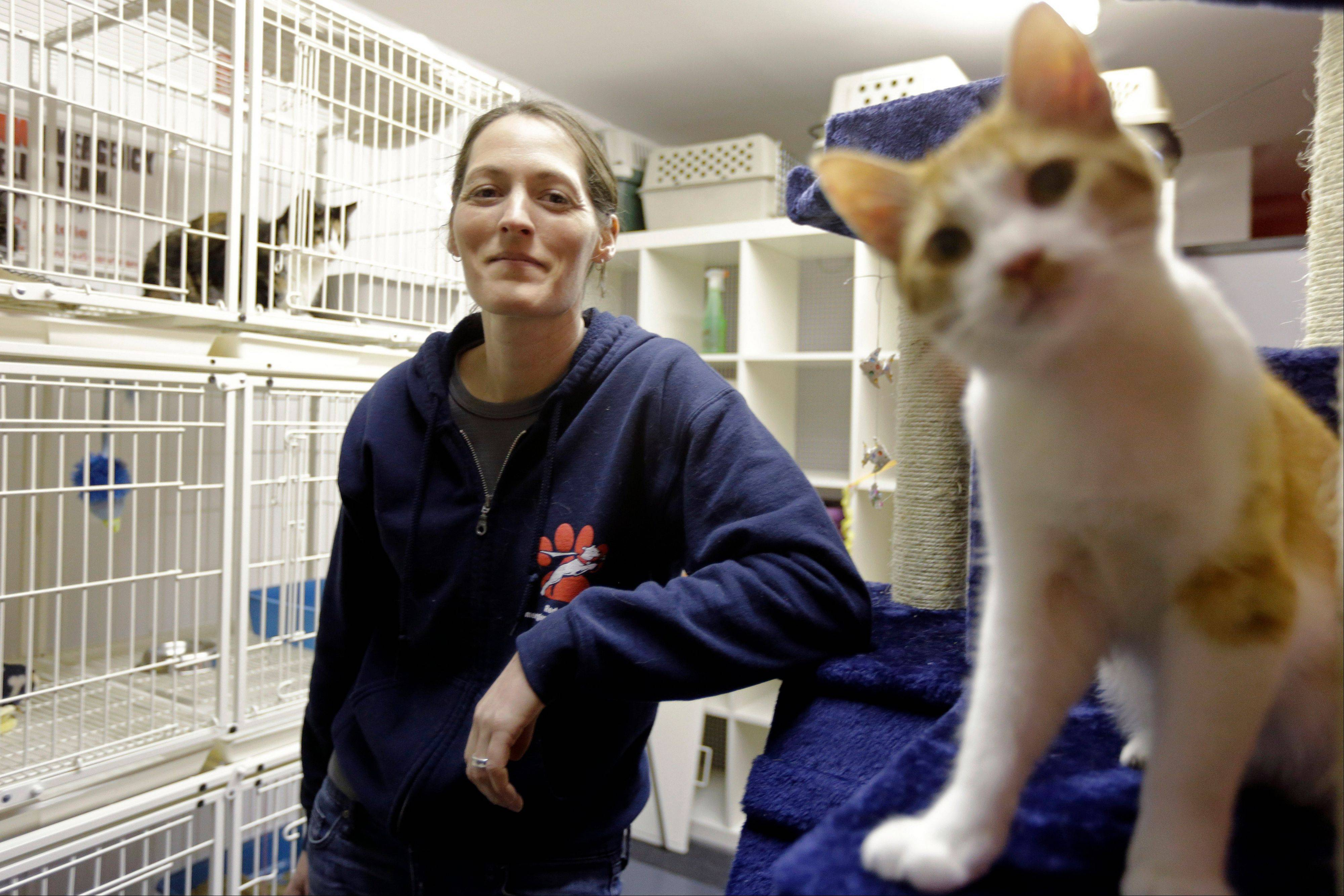 Red Paw founder Jen Leary poses March 28 at their adoption facility in Philadelphia, with kittens displaced due to fires. The emergency relief service Red Paw has paired with the local Red Cross to care for animals displaced by flames, floods or other residential disasters, with the goal of eventually reuniting them with their owners.
