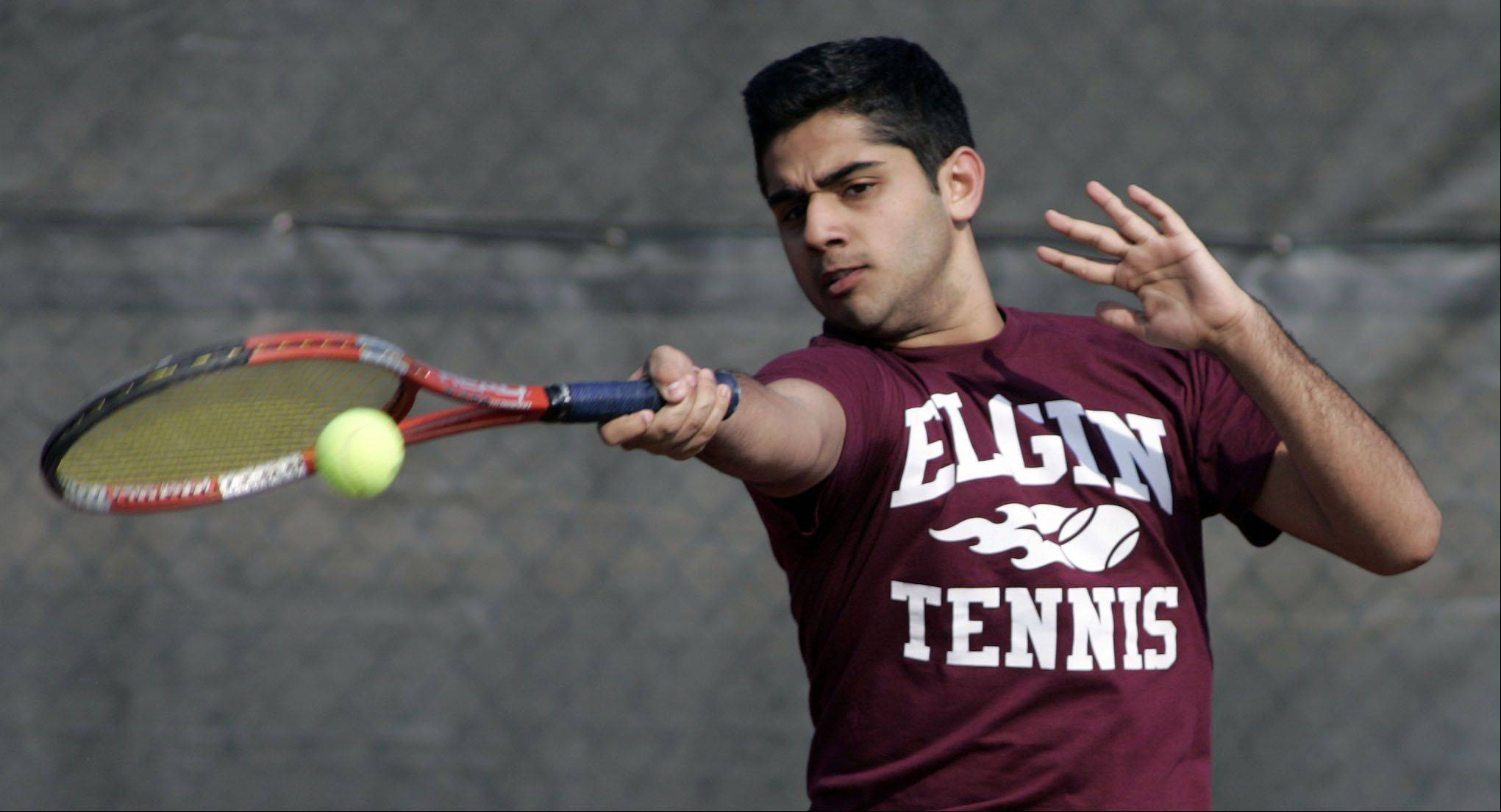 Elgin's Reza Khan, during the Cary-Grove boys tennis invite Saturday in Cary.