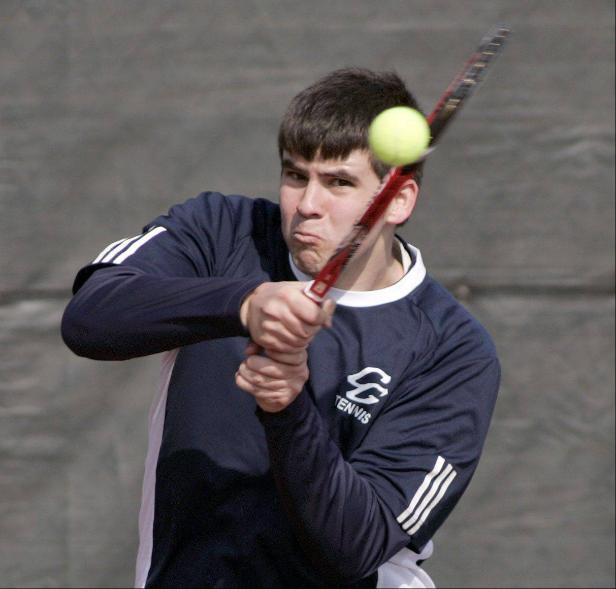 Cary-Grove's Owen Russell during the Cary-Grove boys tennis invite Saturday in Cary.