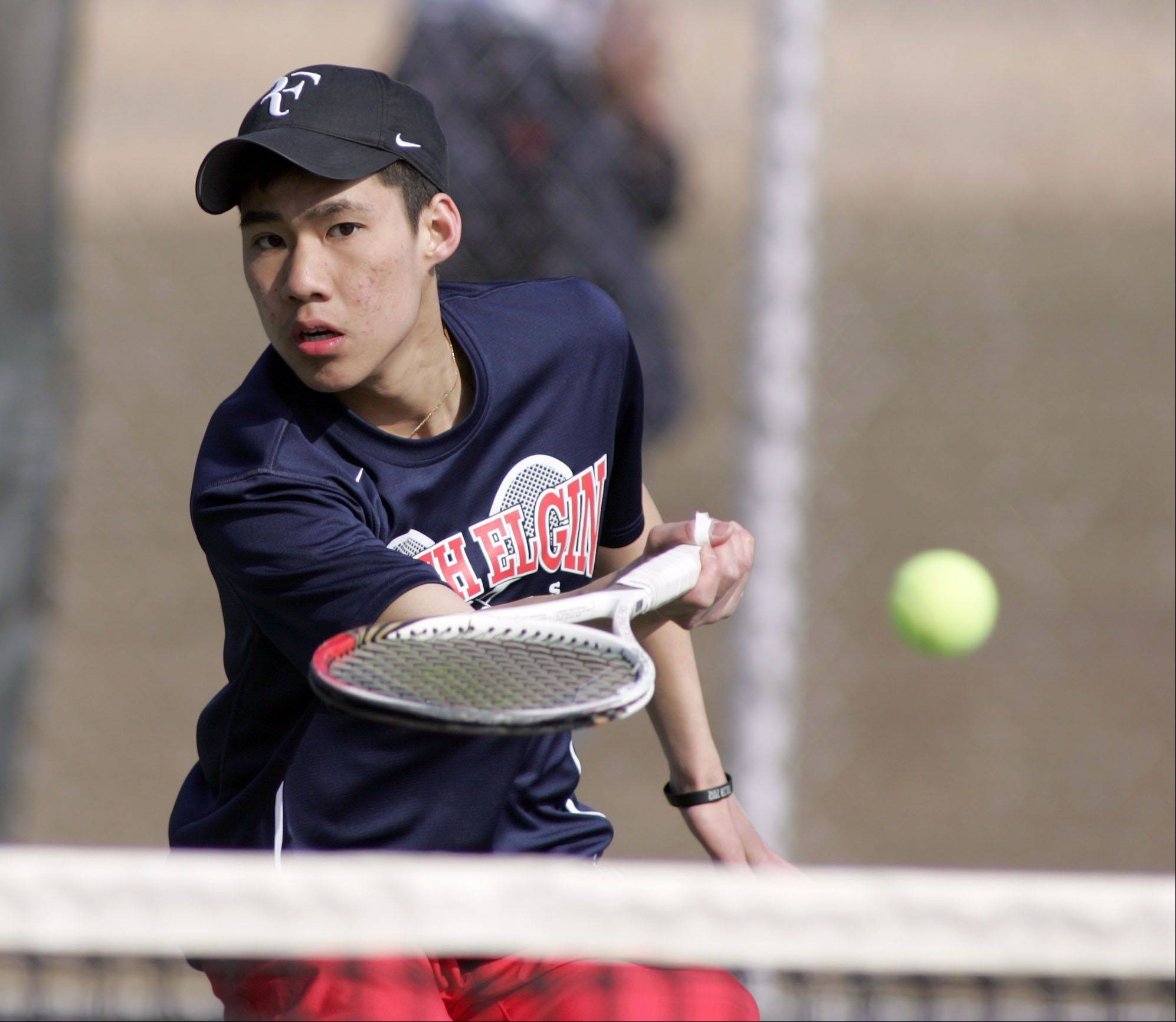South Elgin's Andre Norasith, during the Cary-Grove boys tennis invite Saturday in Cary.
