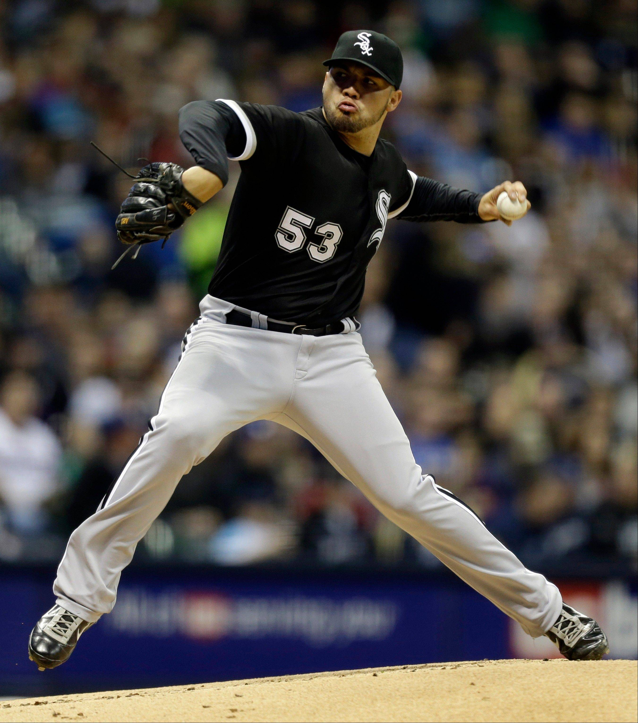 Chicago White Sox starting pitcher Hector Santiago delivers to the Chicago White Sox during the first inning of an exhibition baseball game Friday, March 29, 2013, in Milwaukee.
