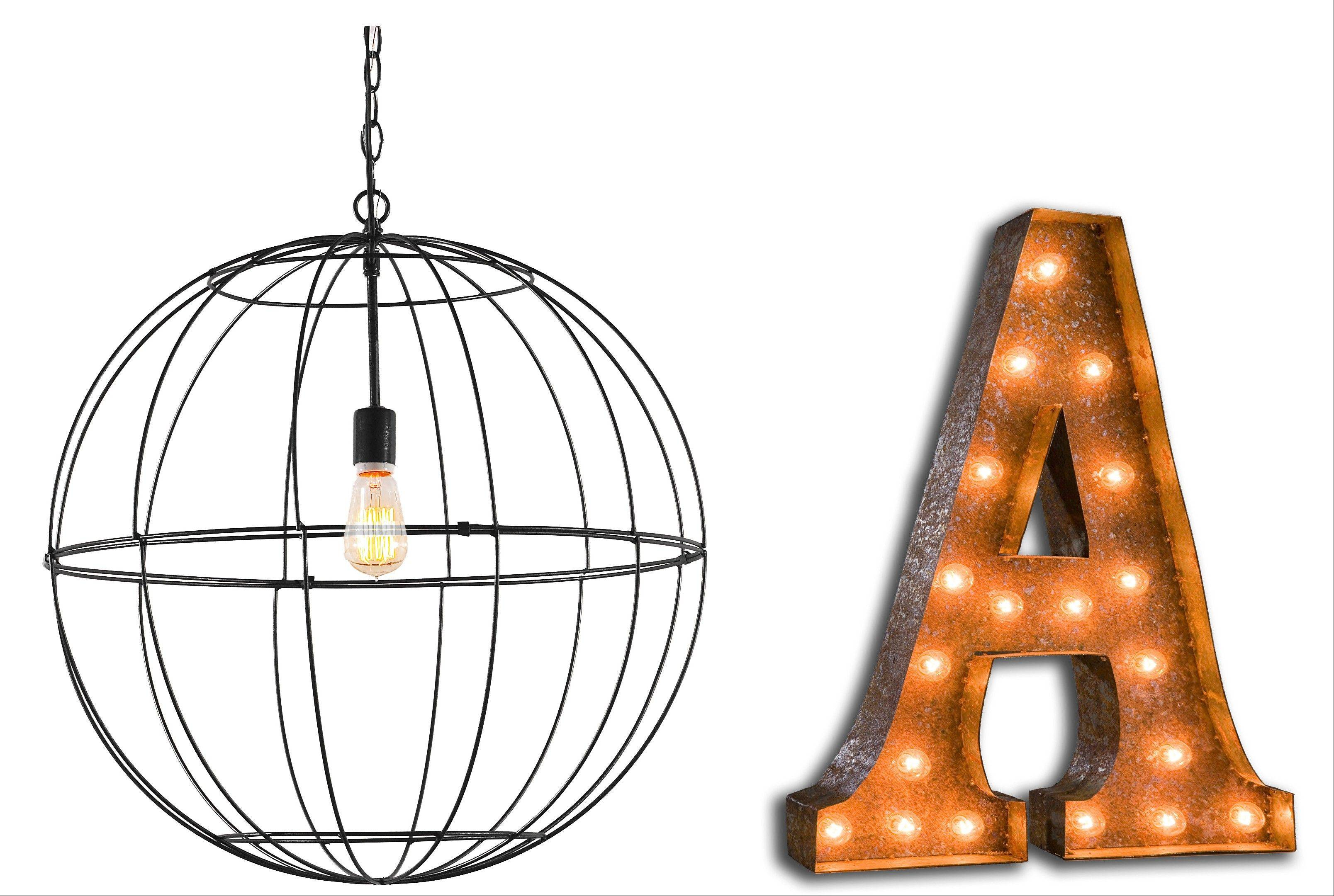 Lighting can also add an artistic touch to a room, if it has eye-catching qualities such as the Young House Love Wire Globe Lantern and the Vintage Marquee Lights in letters or numbers.