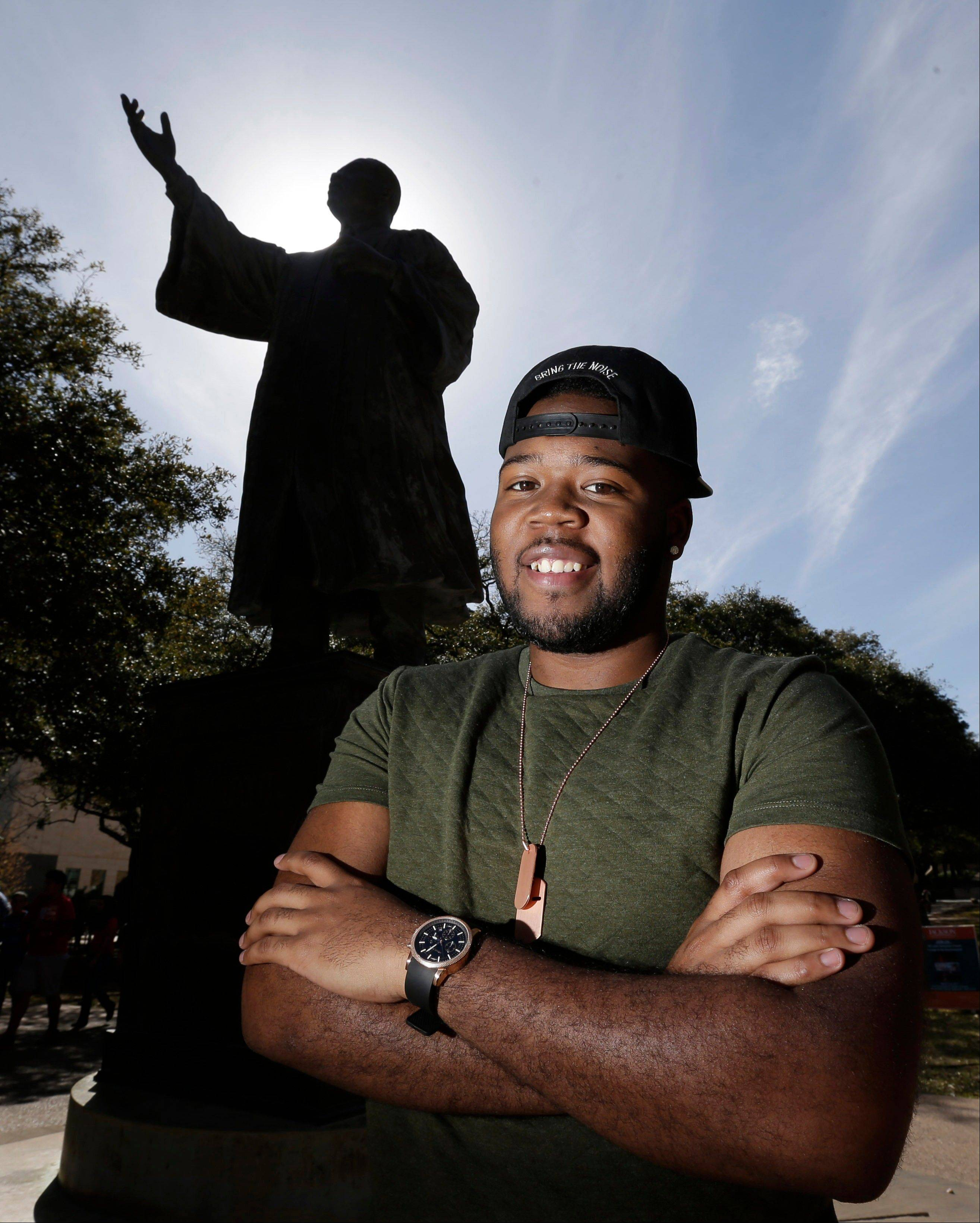 University of Texas senior Bradley Poole, an advertising major, became president of the school's Black Student Alliance, seeking camaraderie after noticing he often was the only African-American in his classes.