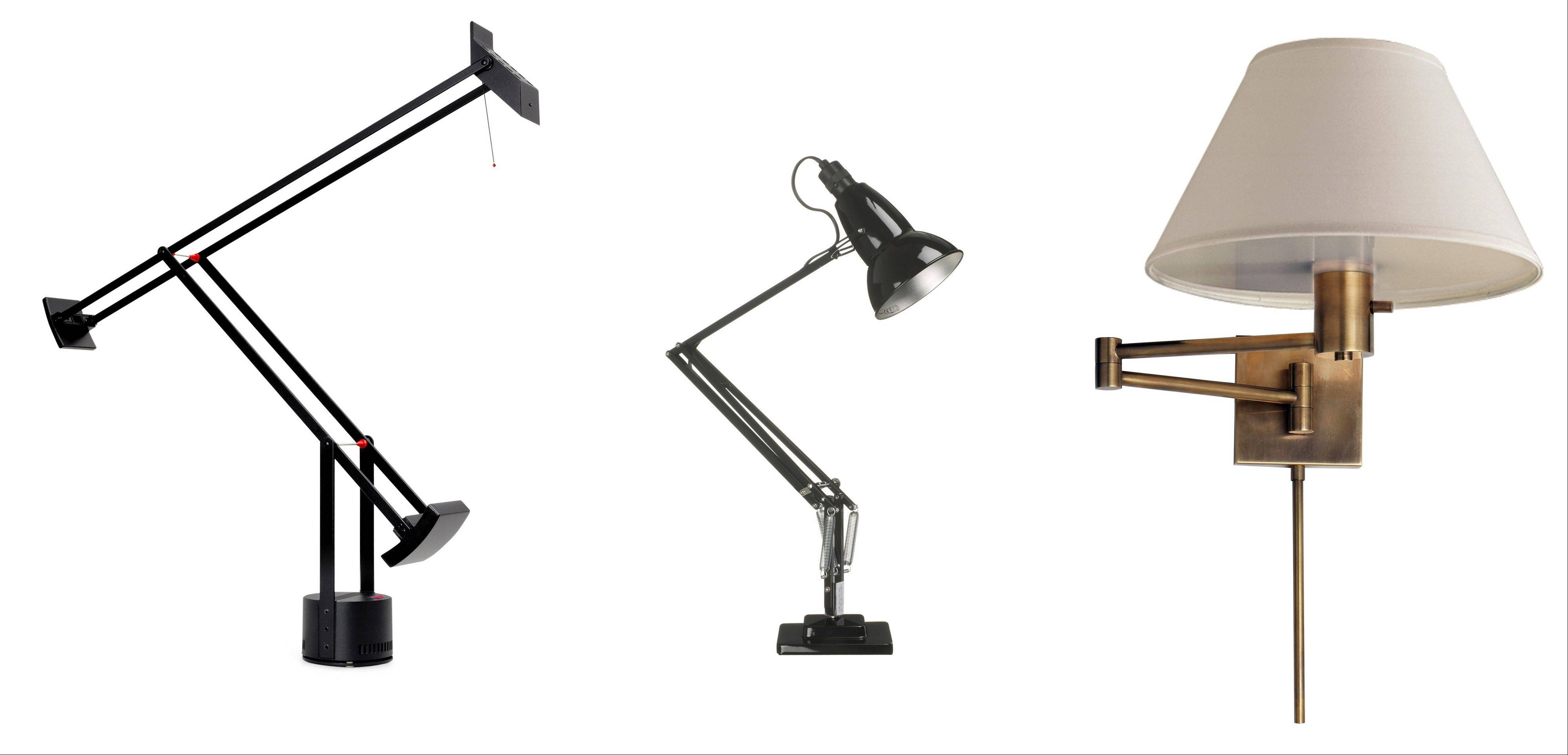 Classic lamps: From left, the Black Tizio Lamp; the Anglepoise Lamp Original 1227 desk lamp; and the swing-arm lamp in Hand-Rubbed Antique Brass.