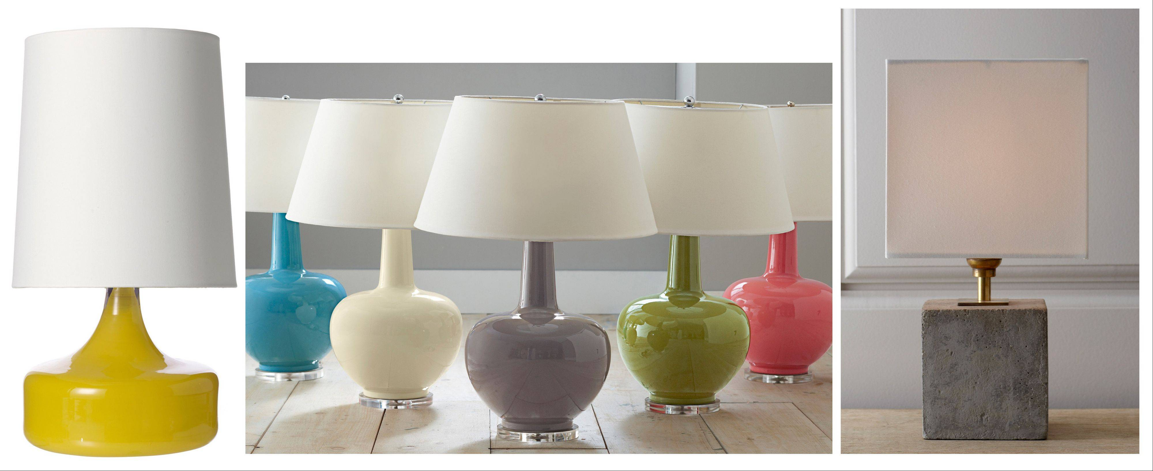 From left, West Elm's Perch Table Lamp; Garnet Hill's Porcelain Table Lamps; and Regina-Andrew Design's Concrete Cube Mini Lamp.