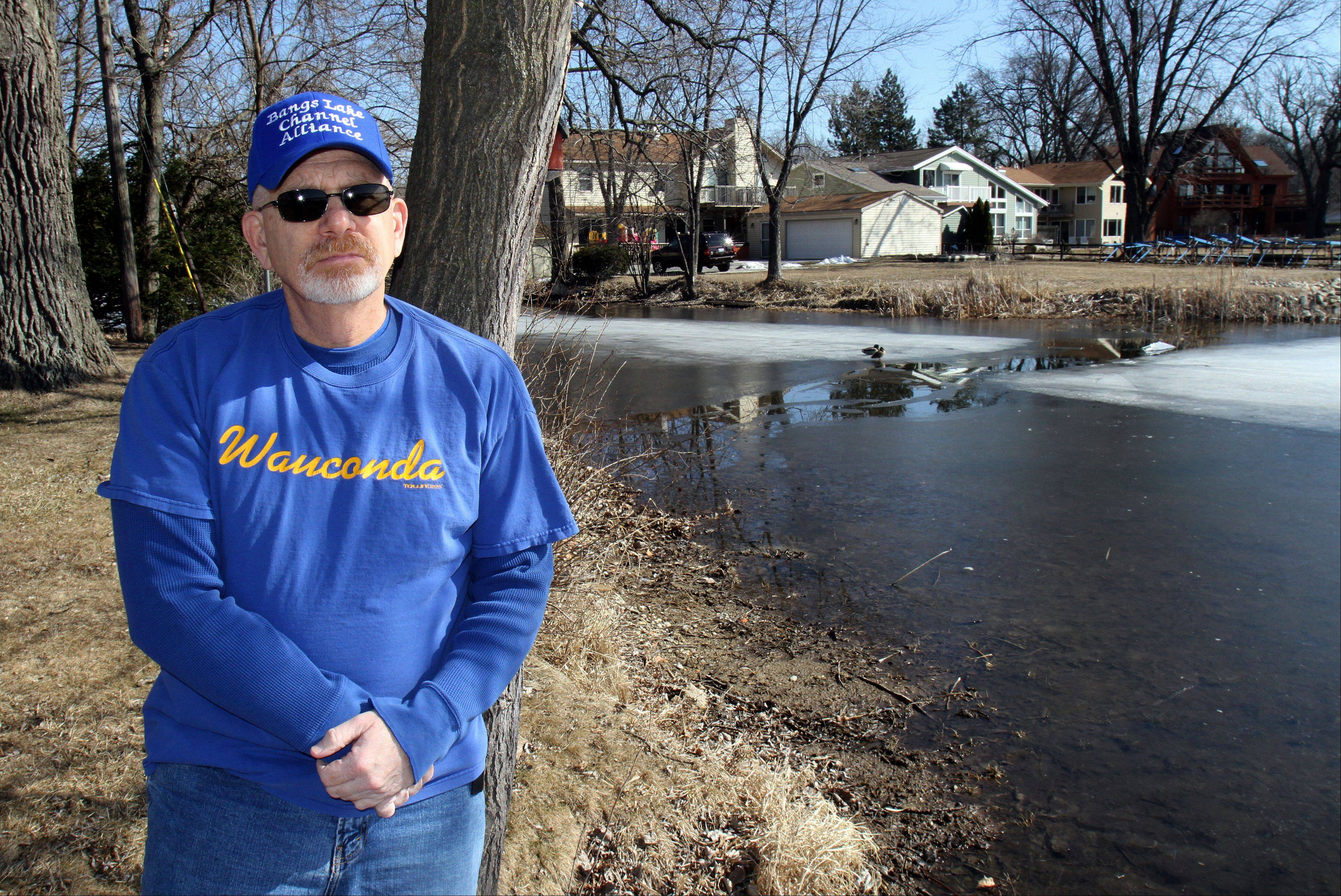 Wauconda resident Jack Marcus is concerned about the depth of the channel that runs behind his home and feeds into Bangs Lake. He said the depth is under 1 foot, and he can't access the lake with his boat.