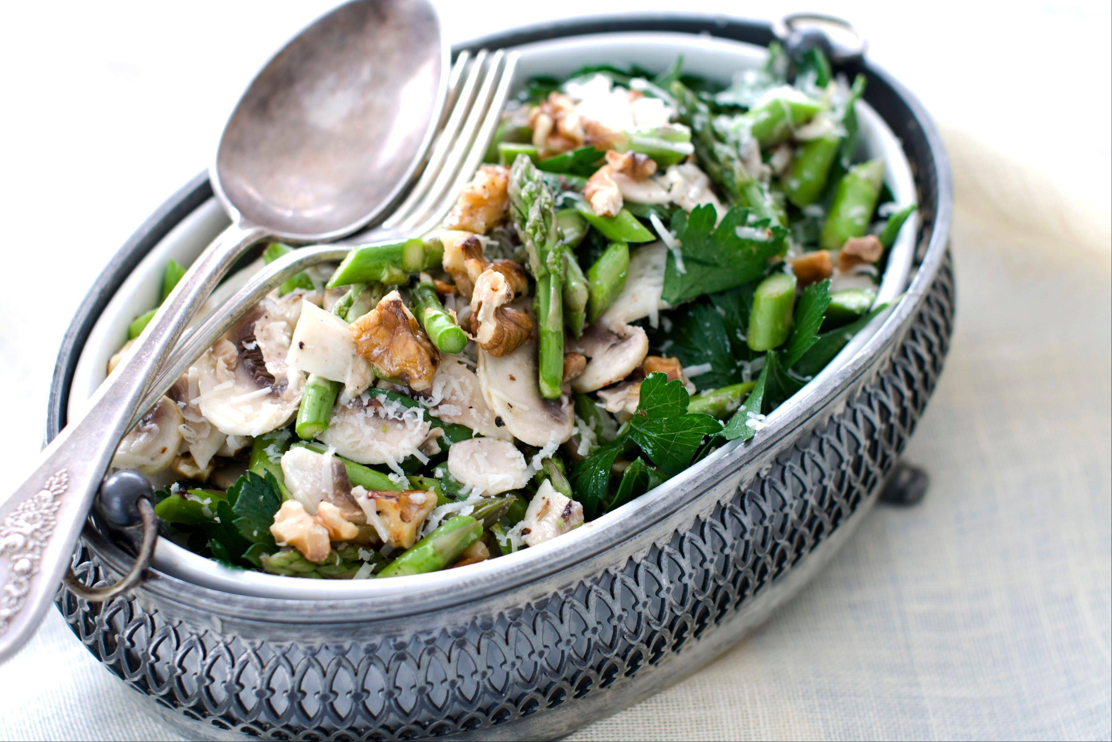 Raw Asparagus, Mushroom and Parsley Salad with Nuts and Parmesan