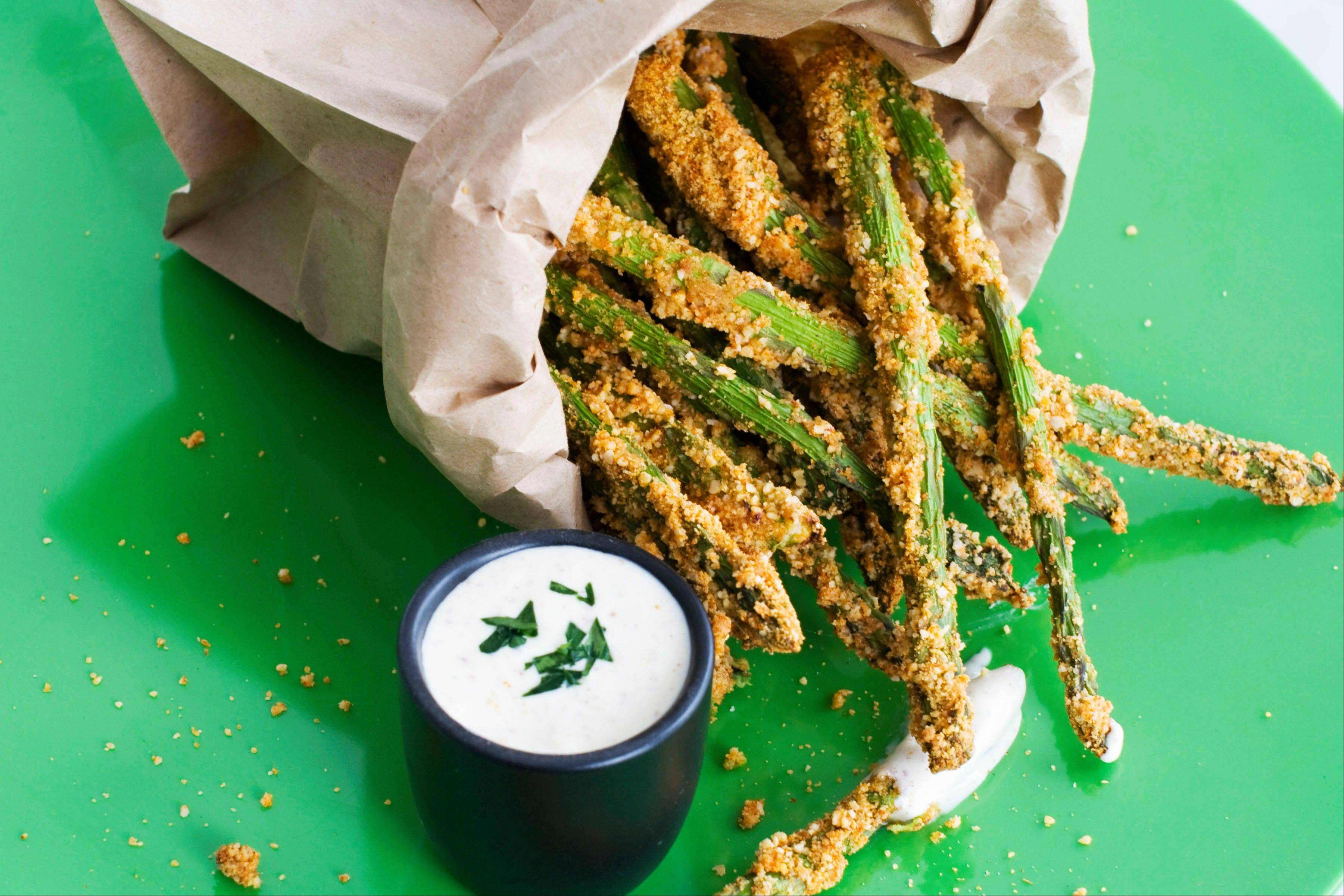 Almond-Crusted Bake-Fried Asparagus
