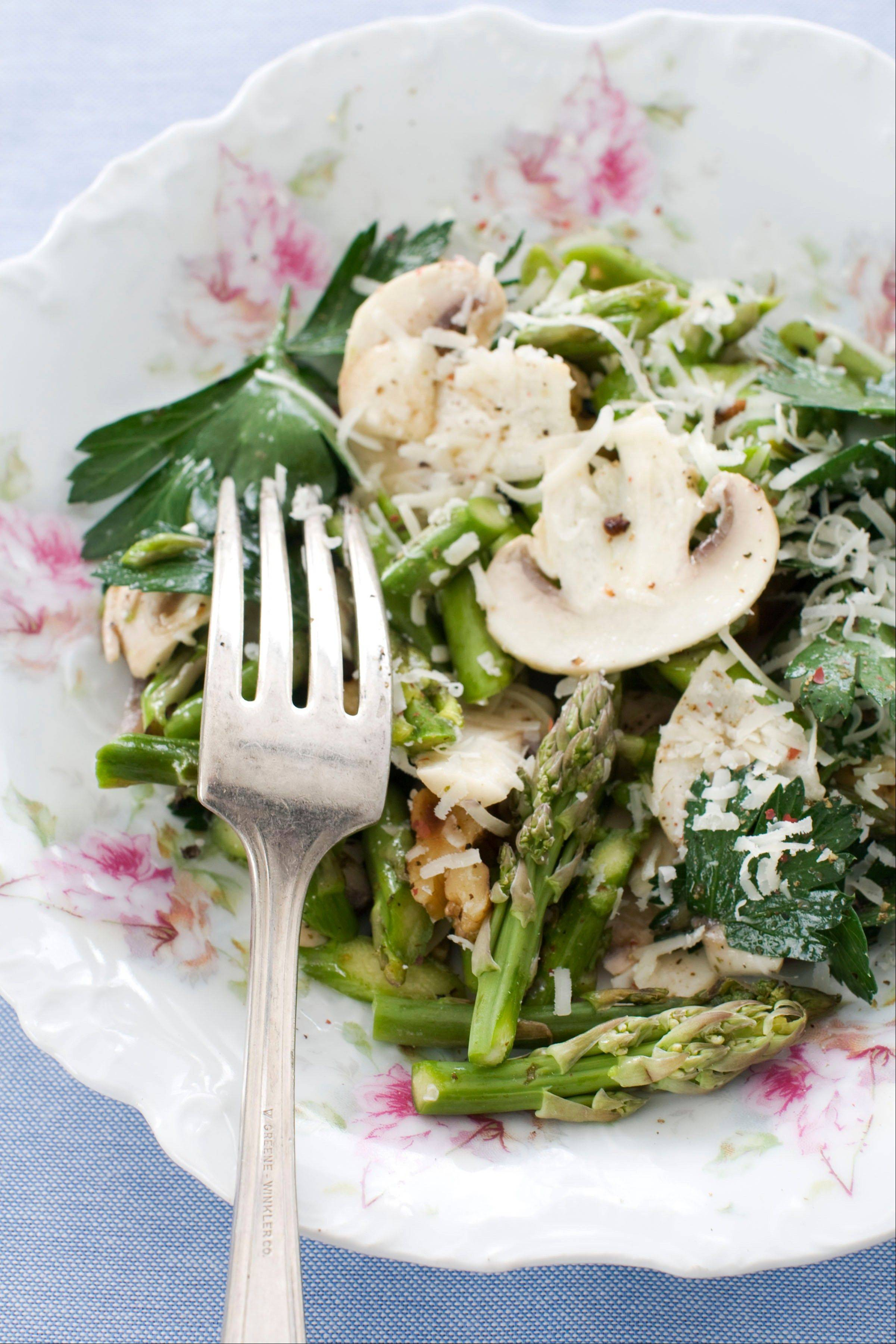 Raw asparagus shines in this salad with mushrooms, parsley and nuts.