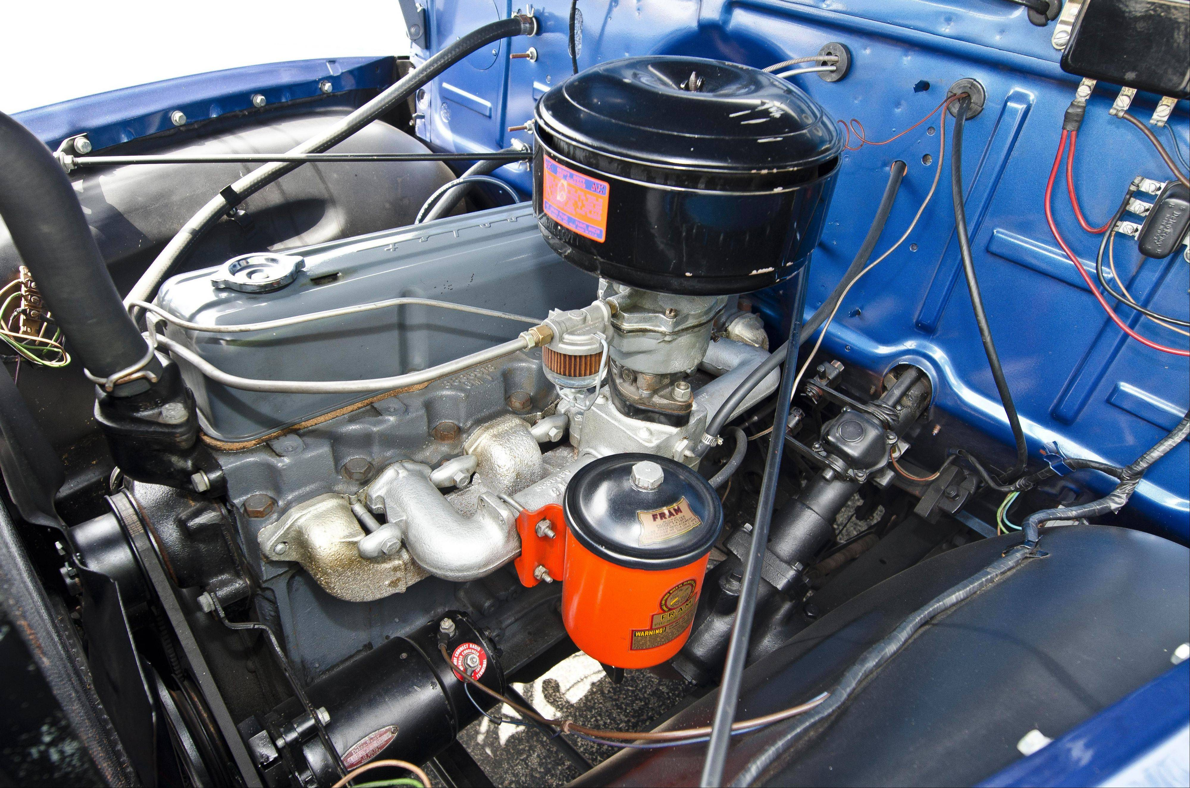 The pickup is powered by a factory Thriftmaster 235-cubic-inch six-cylinder engine.