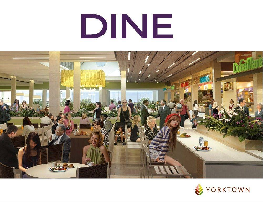 Renovation plans for Yorktown Center in Lombard call for a new food court that will provide some more healthy eating options.