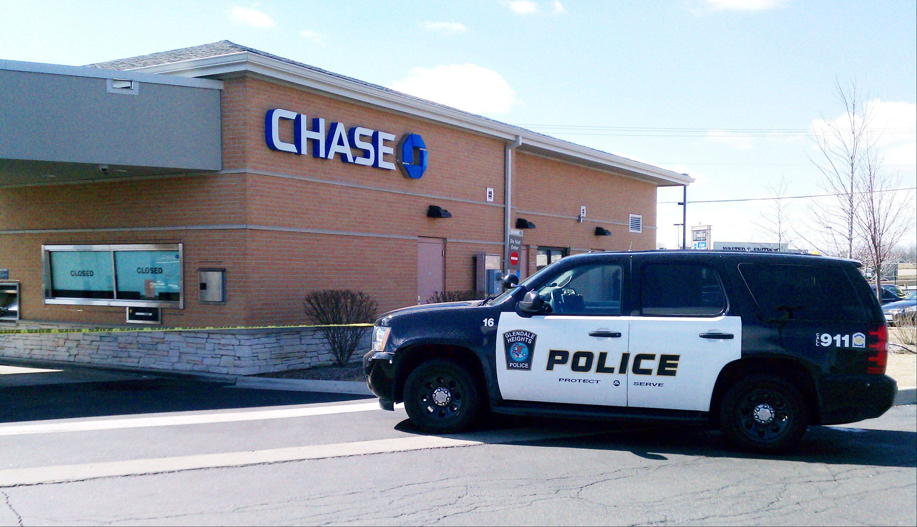 Glendale Heights police investigate a robbery Monday morning at the Chase Bank branch at 2150 Bloomingdale Road.