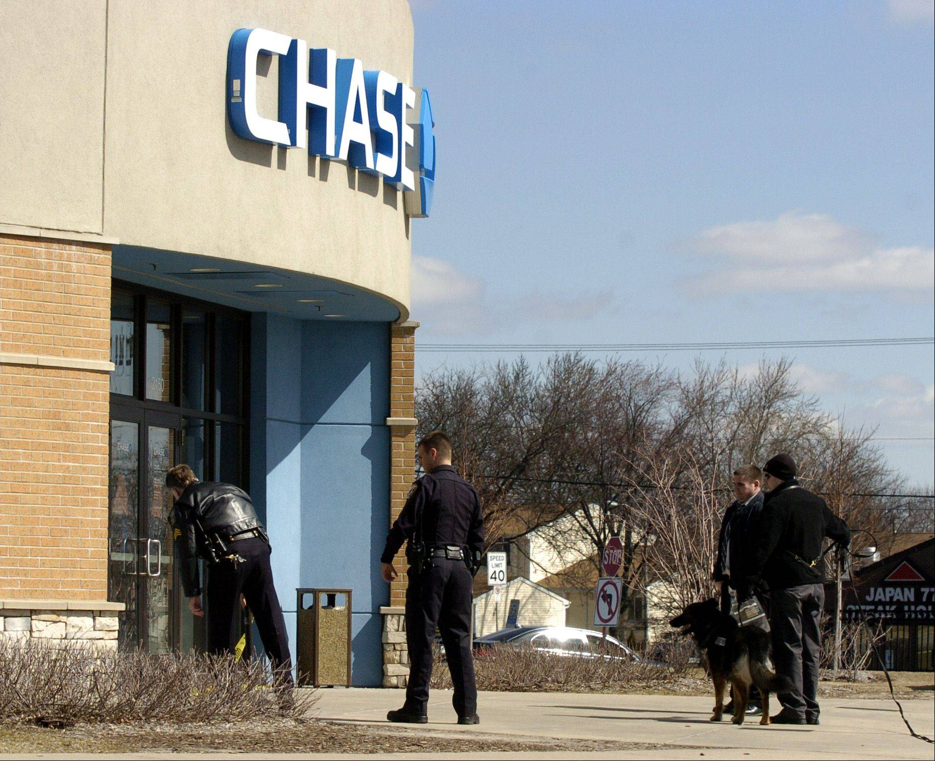 Glendale Heights police use a police dog to aid in the investigation of a bank robbery Monday at the Chase Bank branch at Army Trail and Bloomingdale roads.