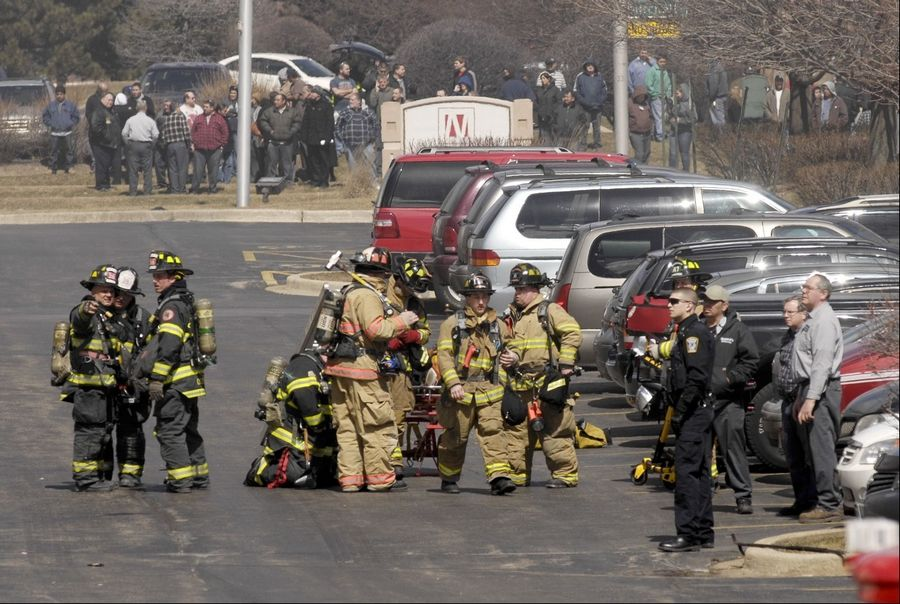 Firefighters from multiple departments battle a blaze Monday that resulted from an explosion at Northstar Metal Products Inc. in Glendale Heights.