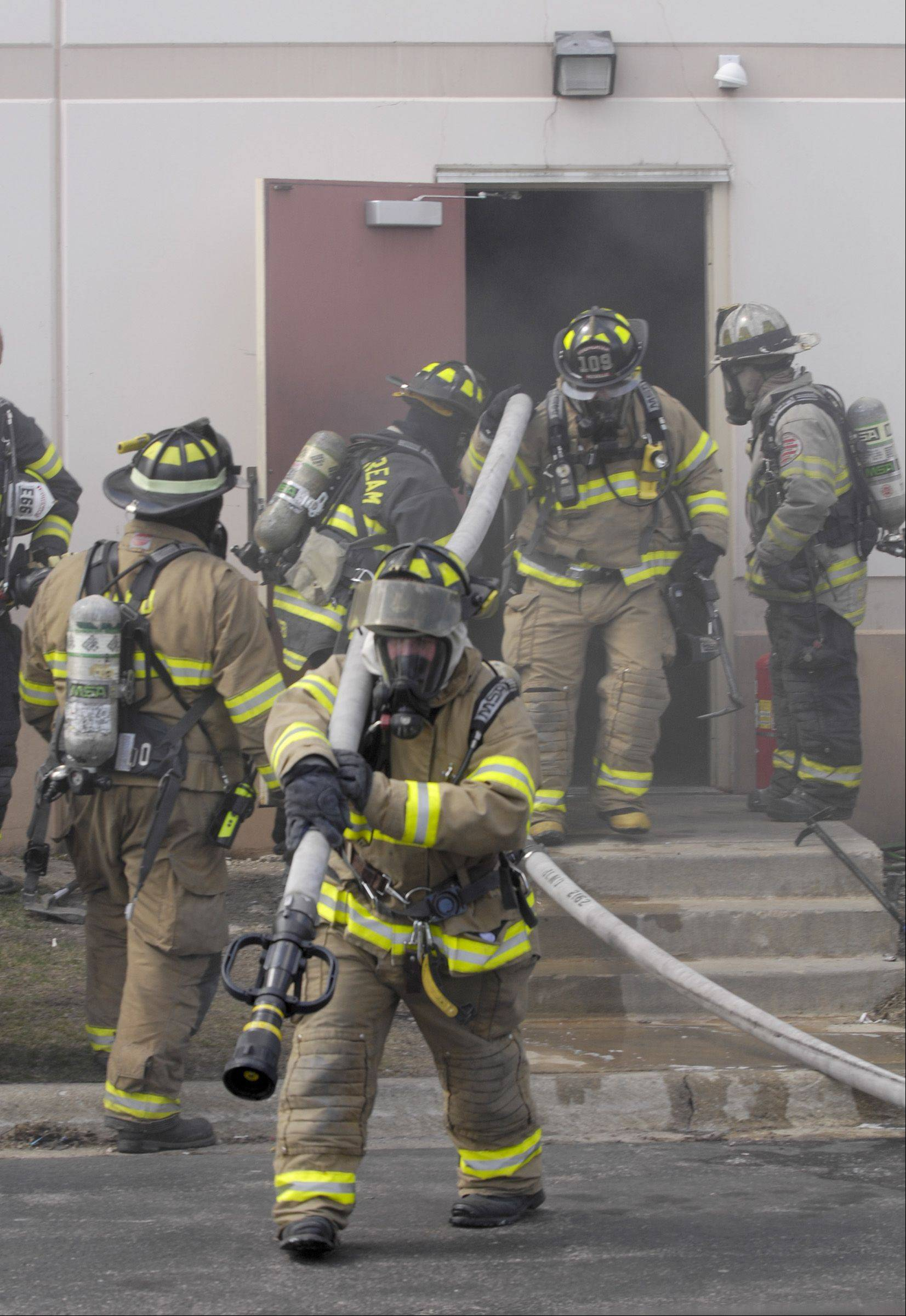 At least two people were injured Monday in a fire and explosion at Northstar Metal Products Inc. in Glendale Heights.