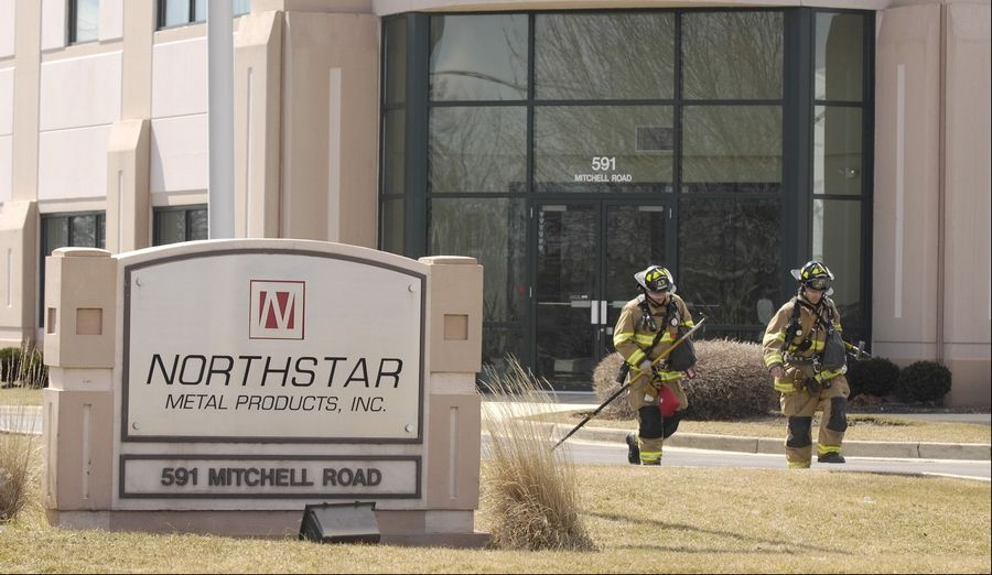 Eight engines, four trucks and five ambulances responded Monday to an explosion and fire at a metal fabricating plant in Glendale Heights.