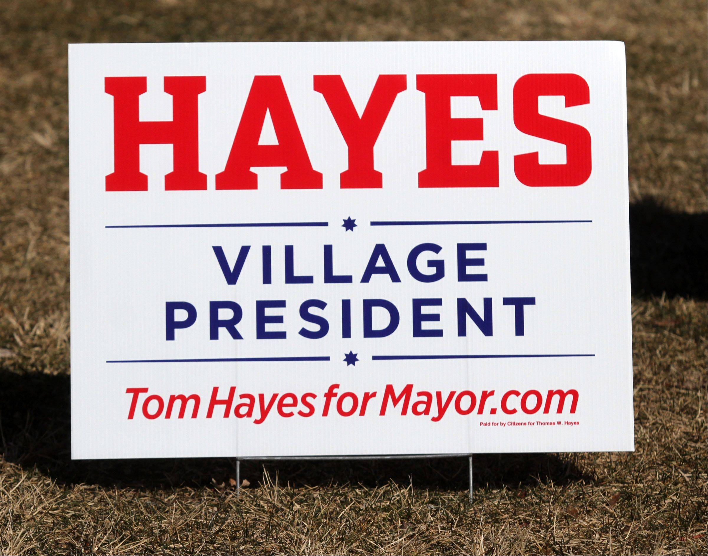 Campaign sign on a lawn in Arlington Heights.