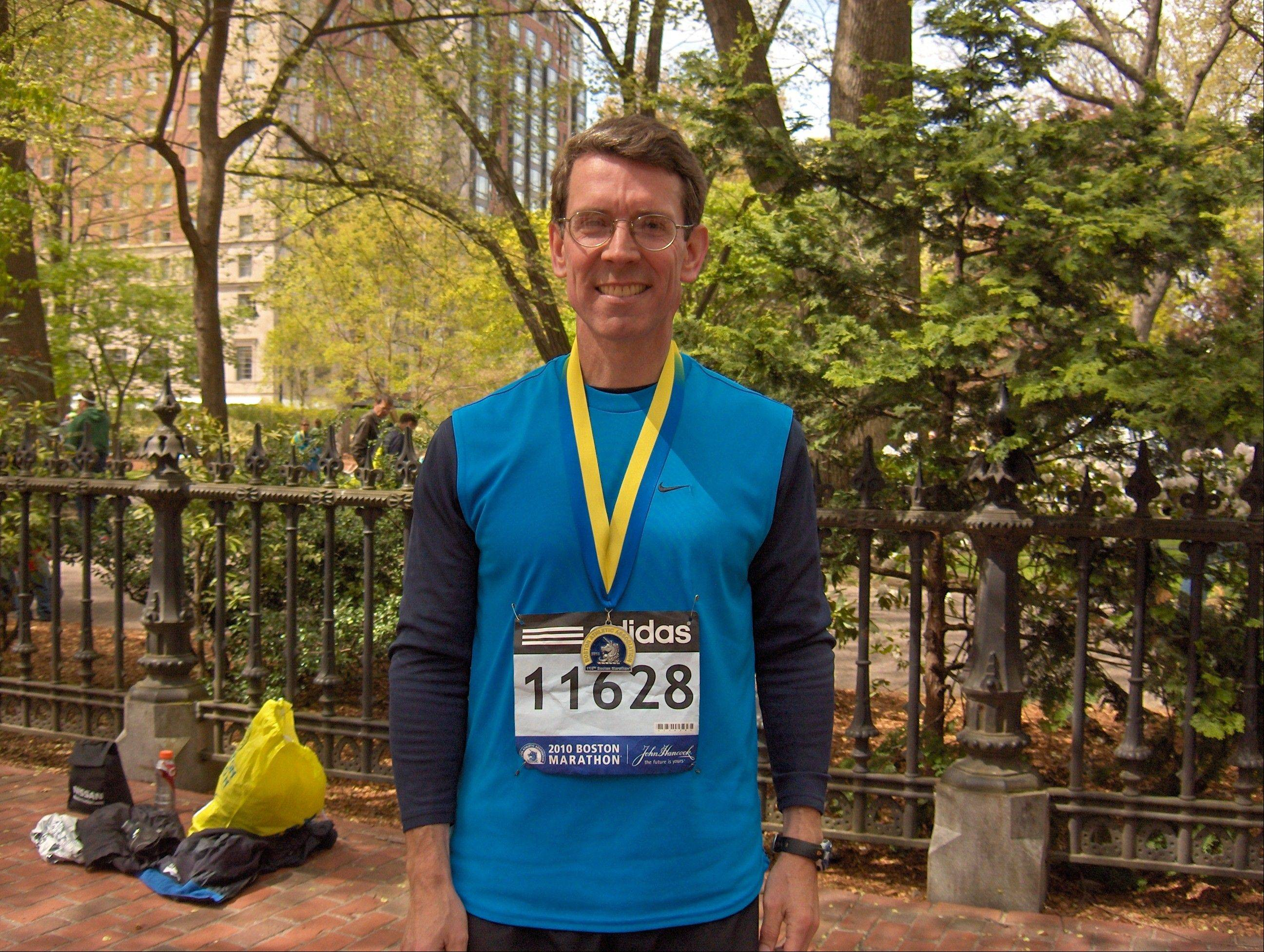 Tom Hayes after the 2010 Boston Marathon. He will run the Boston again just days after the April 9 election.