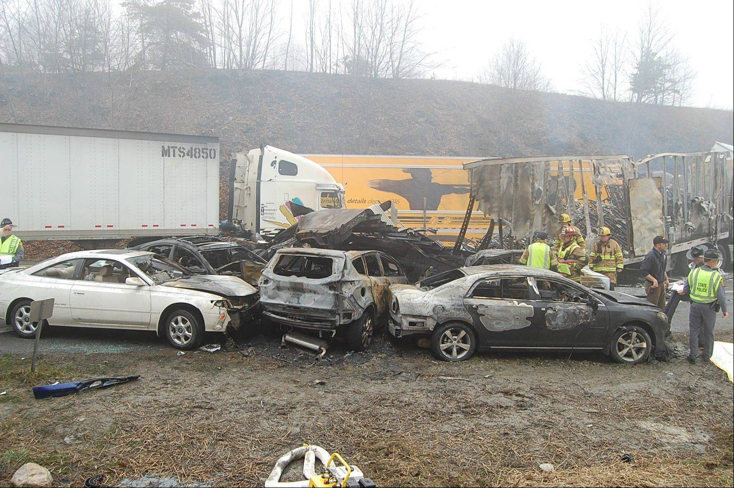 Virginia State Police say three people have been killed and more than 20 are injured and traffic was backed up about 8 miles following a 95-vehicle pileup on Interstate 77 near the Virginia-North Carolina border in Galax, Va., on Sunday.