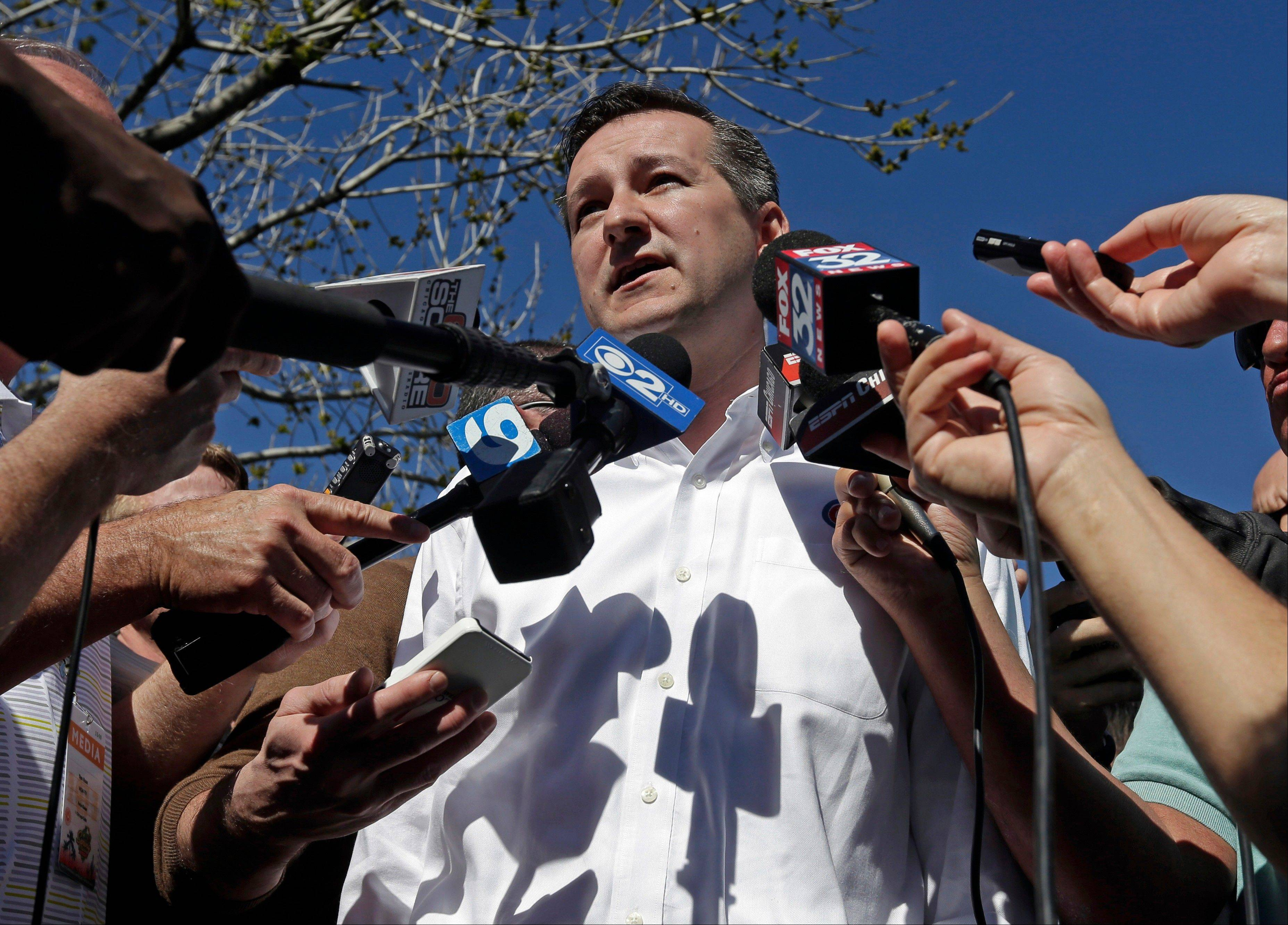 Cubs chairman Tom Ricketts answers questions before a spring training baseball workout Sunday, Feb. 17, 2013, in Mesa, Ariz.