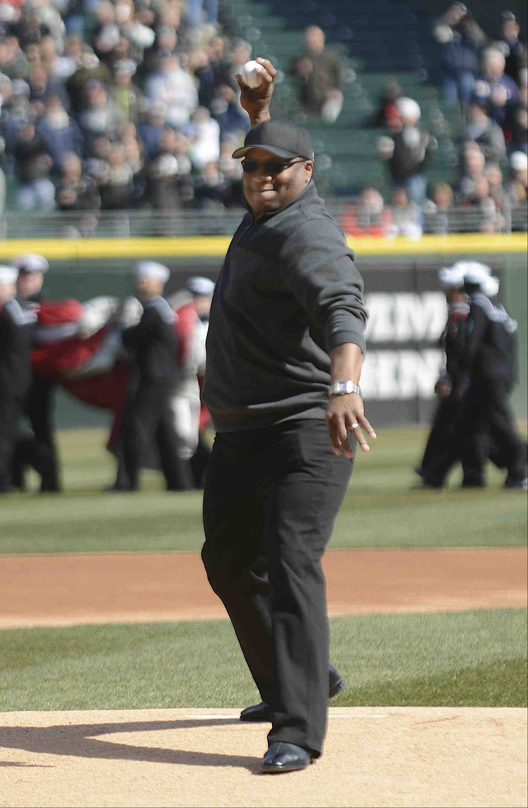 Bo Jackson, who played for the White Sox and Royals, throws out the first ceremonial pitch in the 2013 season opener at U.S. Cellular Field.