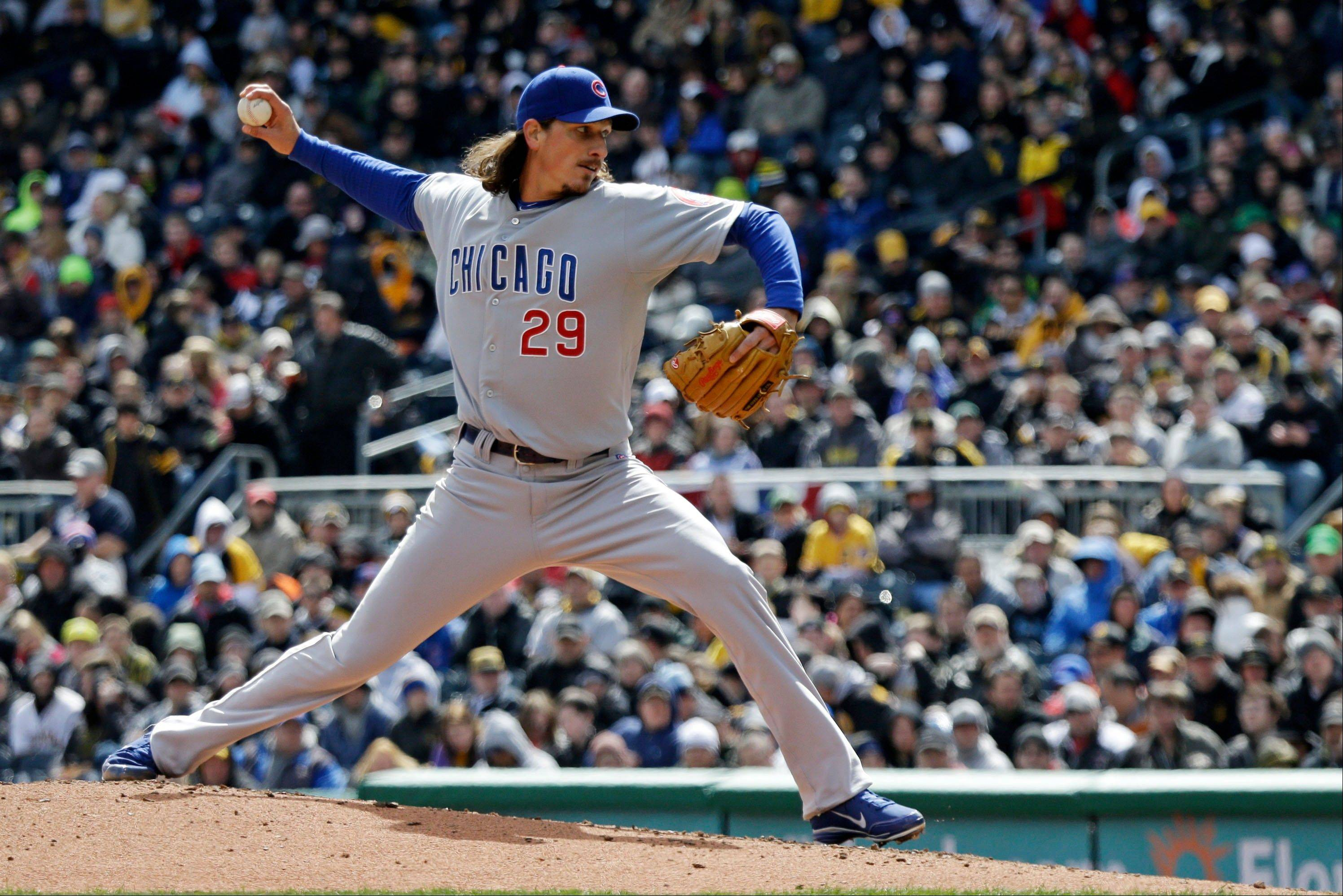 Chicago Cubs starting pitcher Jeff Samardzija delivers during the second inning.