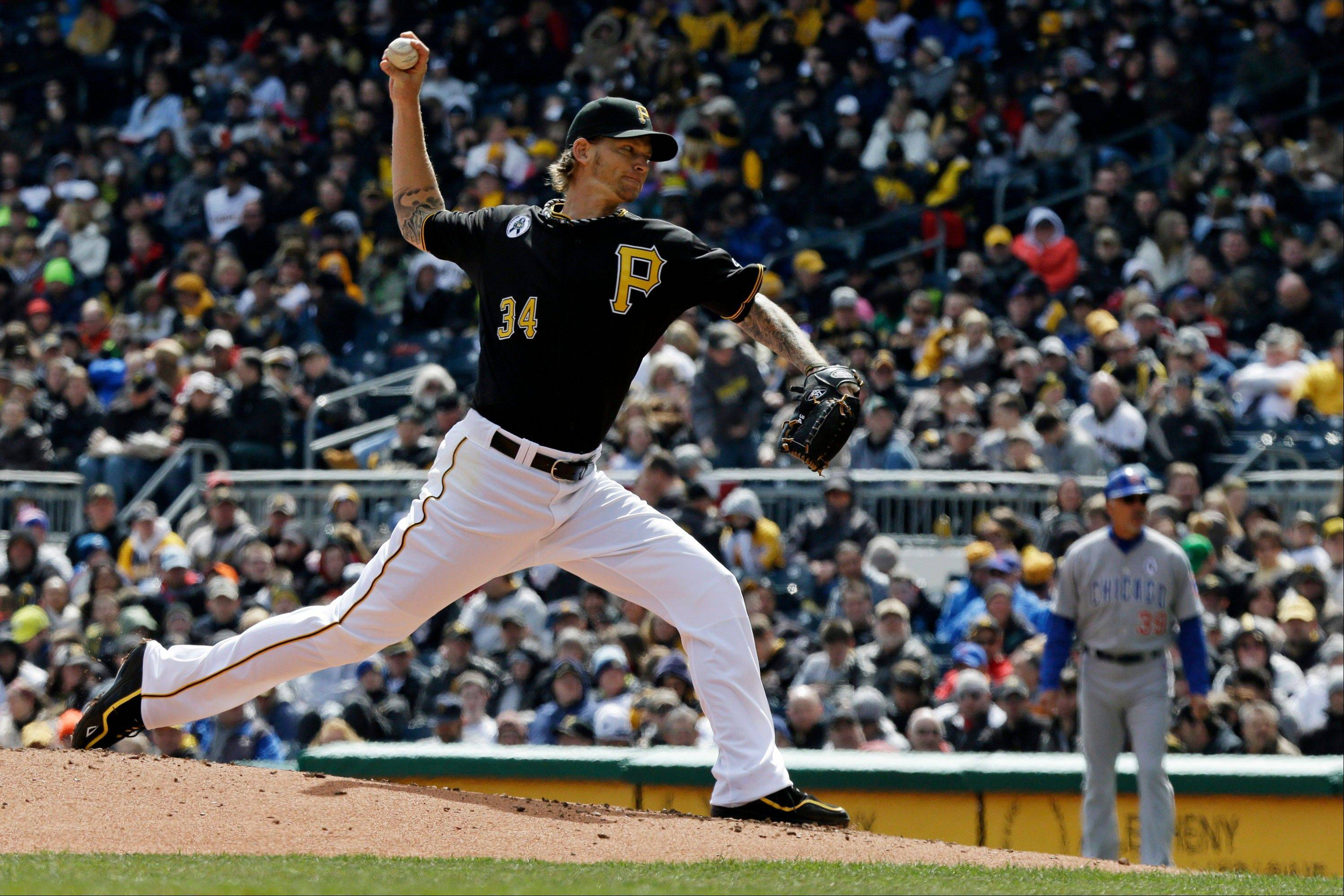 Pittsburgh Pirates starting pitcher A.J. Burnett delivers during the second inning.