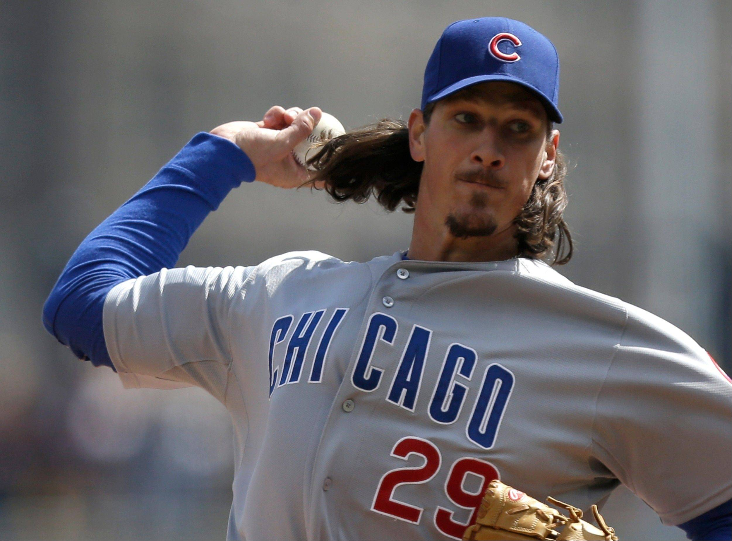 Chicago Cubs starting pitcher Jeff Samardzija throws against the Pittsburgh Pirates in the first inning.