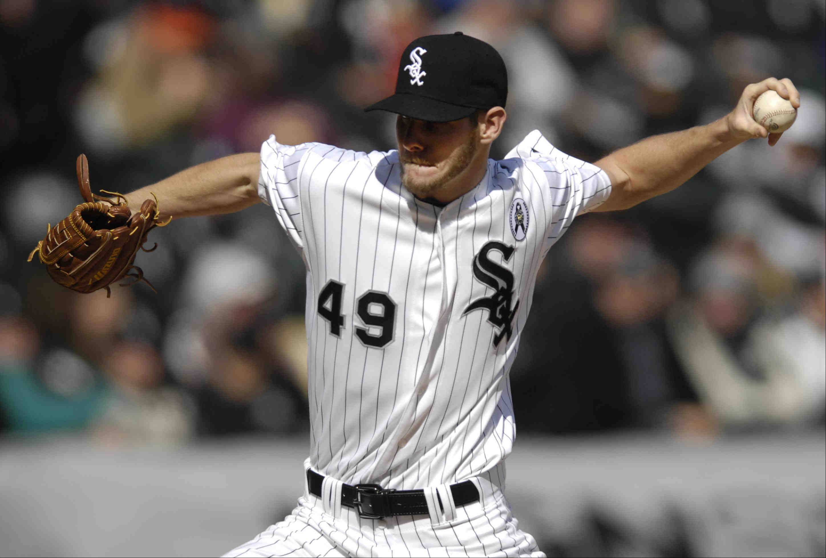 White Sox starting pitcher Chris Sale throws in the first inning against the Kansas City Royals on Opening Day at U.S. Cellular Field.