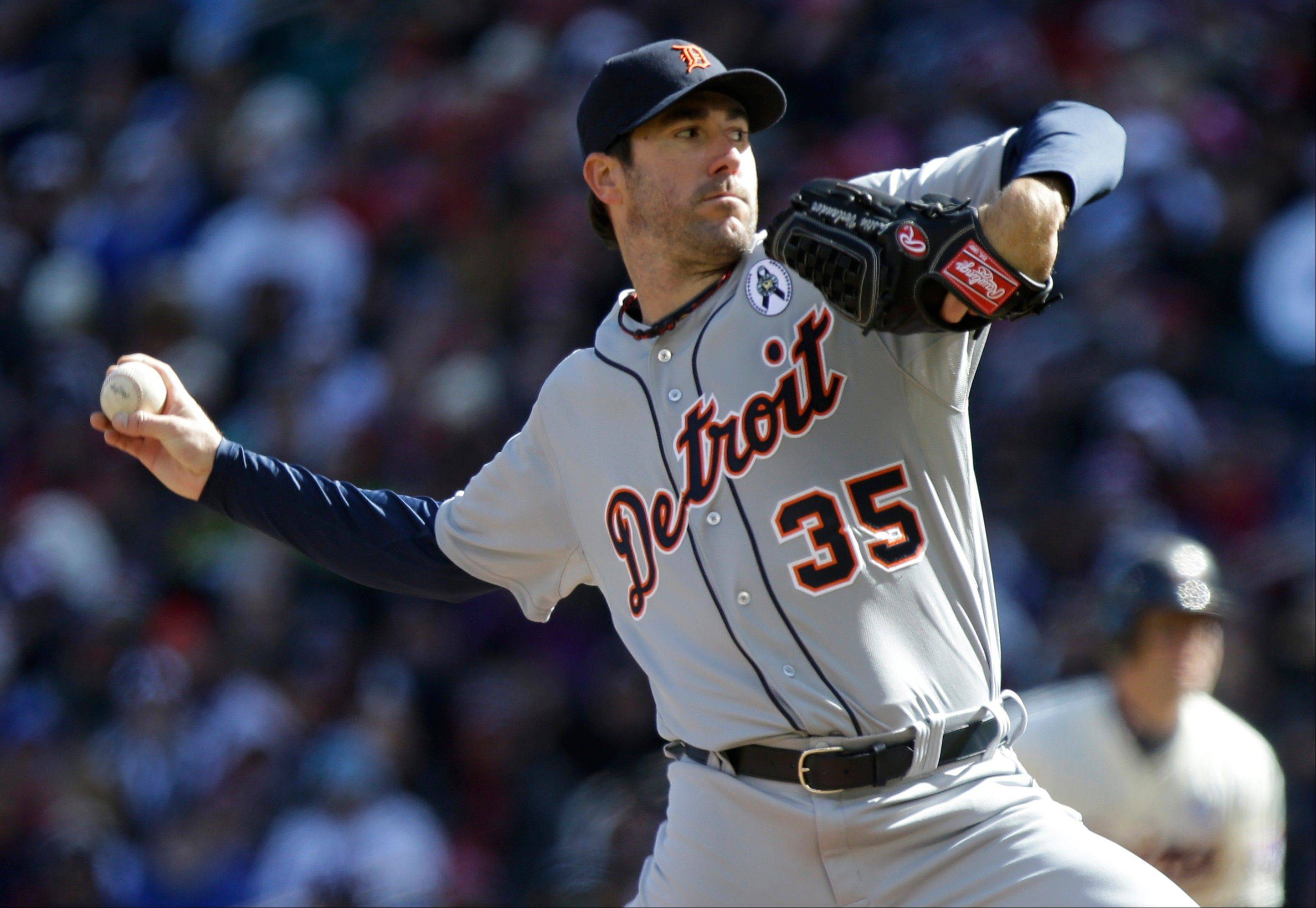 Detroit�s Justin Verlander pitches in the first inning of an Opening Day game in Minneapolis.
