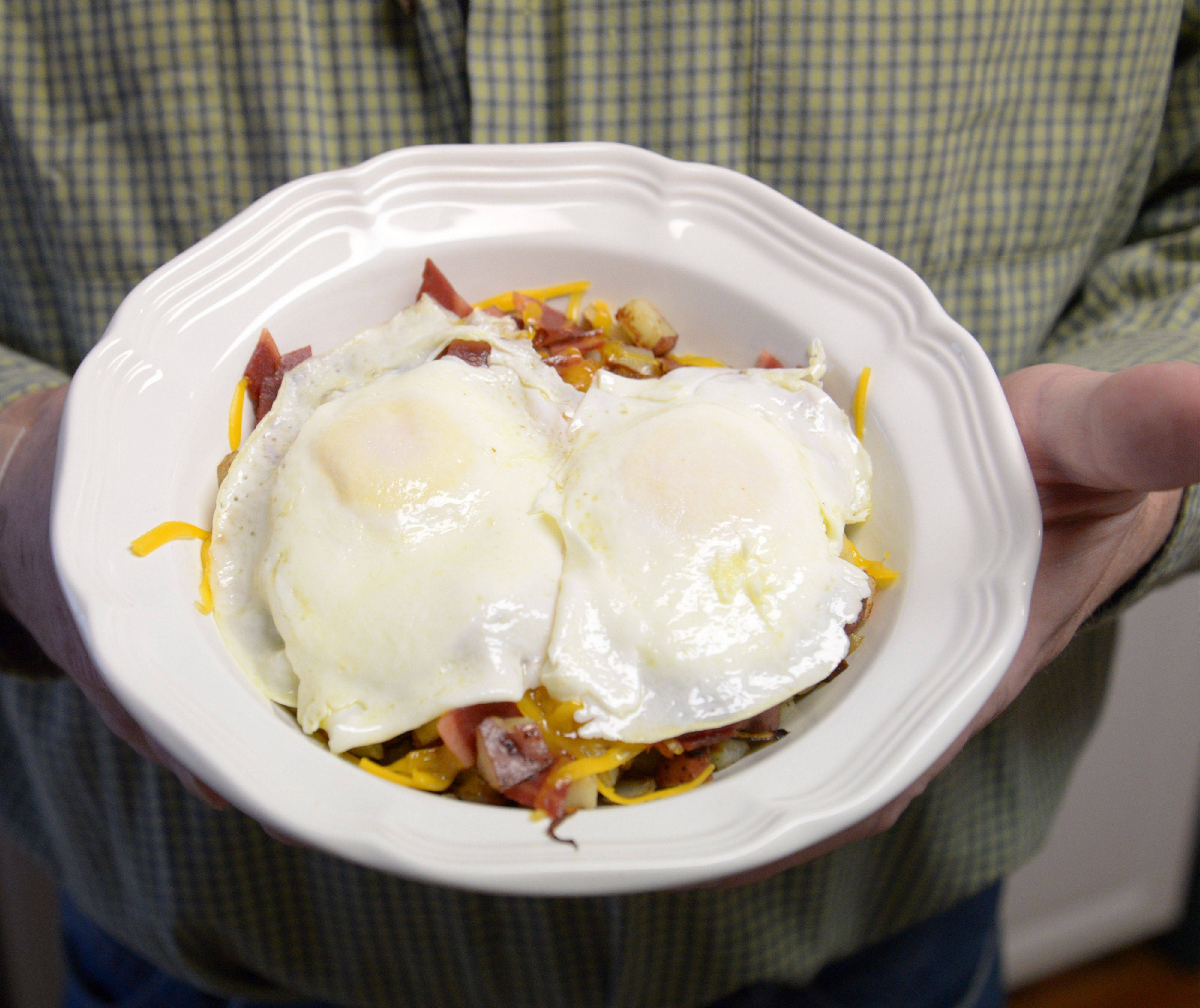 Made-to-order eggs top Tim Sullivan's skillet breakfast.