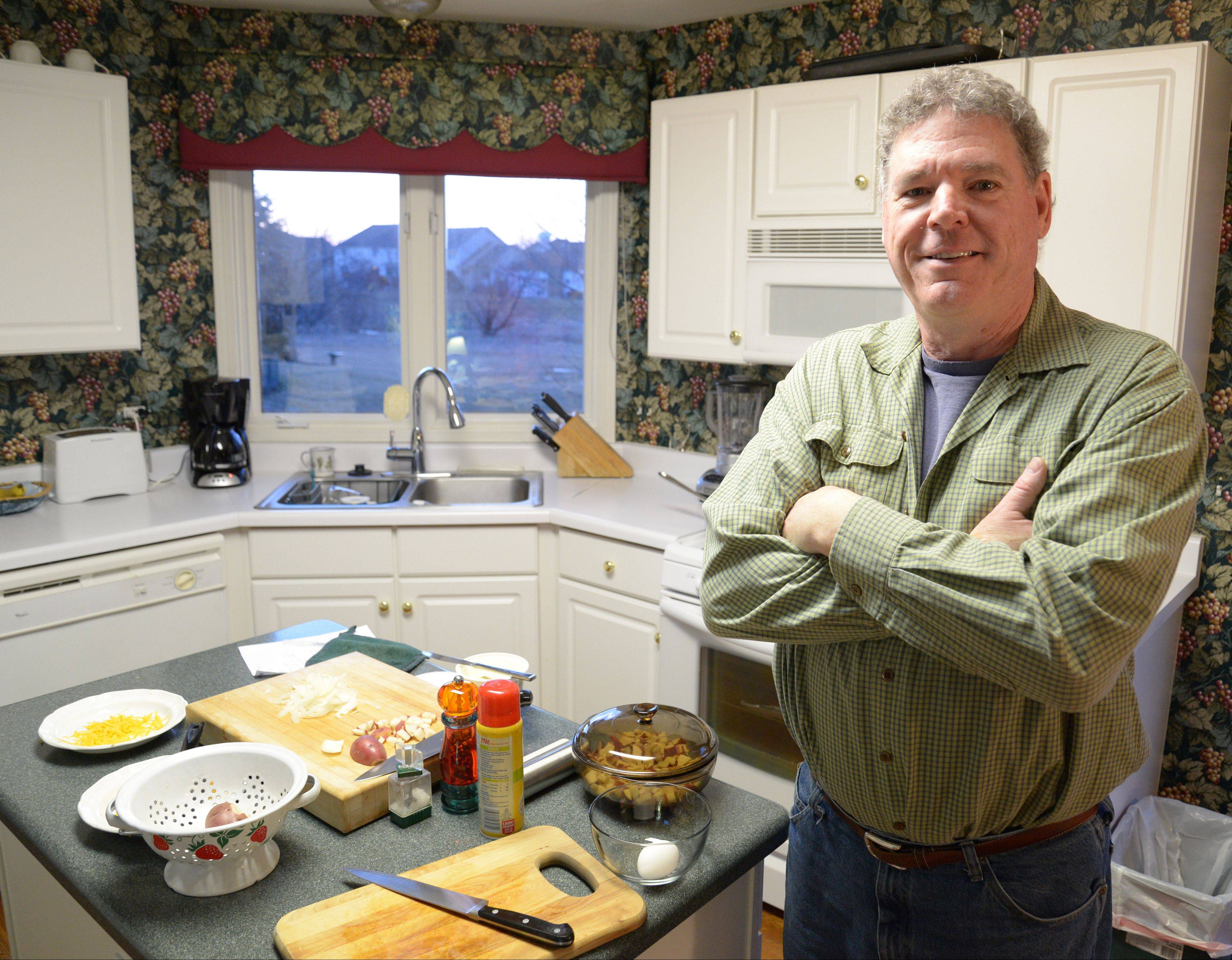 Tim Sullivan gets up early to make his signature breakfast skillet for his family.