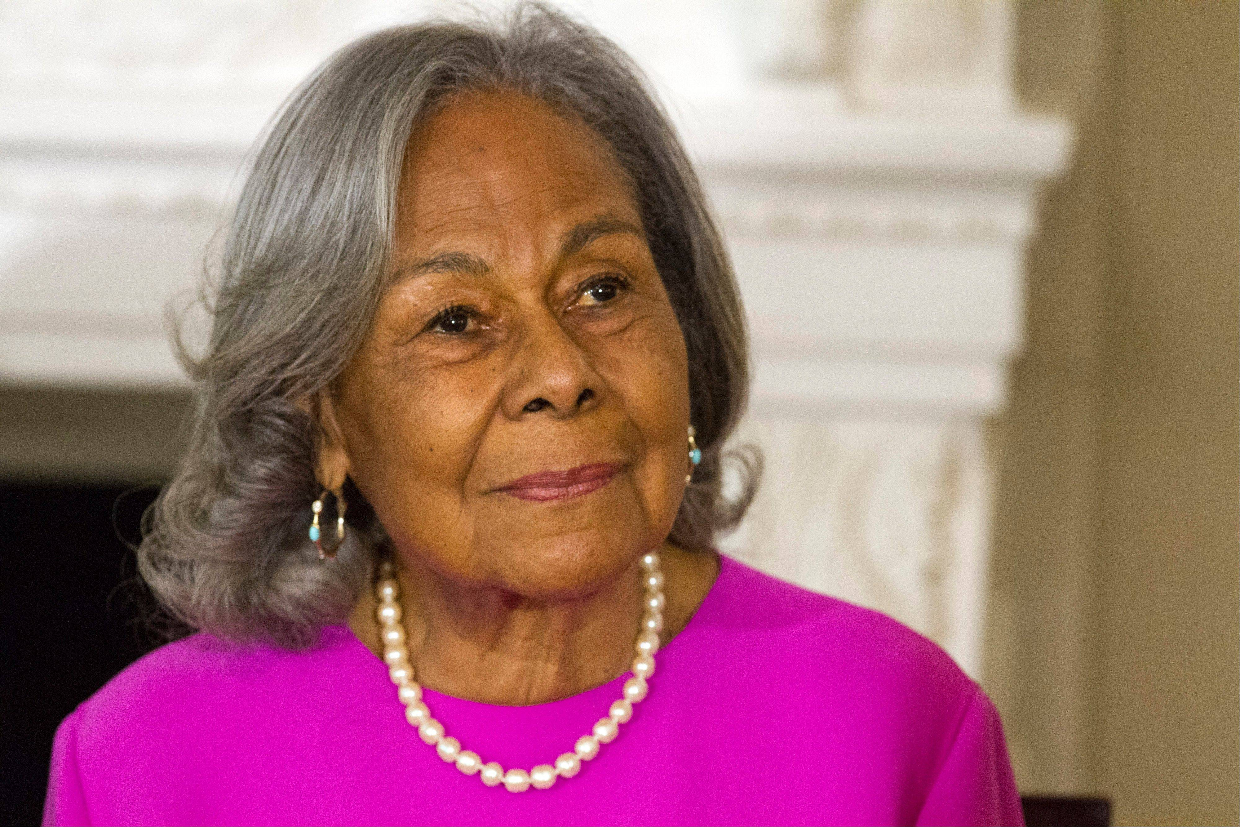 "Rachel Robinson, 90, widow of baseball great Jackie Robinson attends a workshop for high school and college students with cast members of the movie ""42"" Tuesday at the White House."