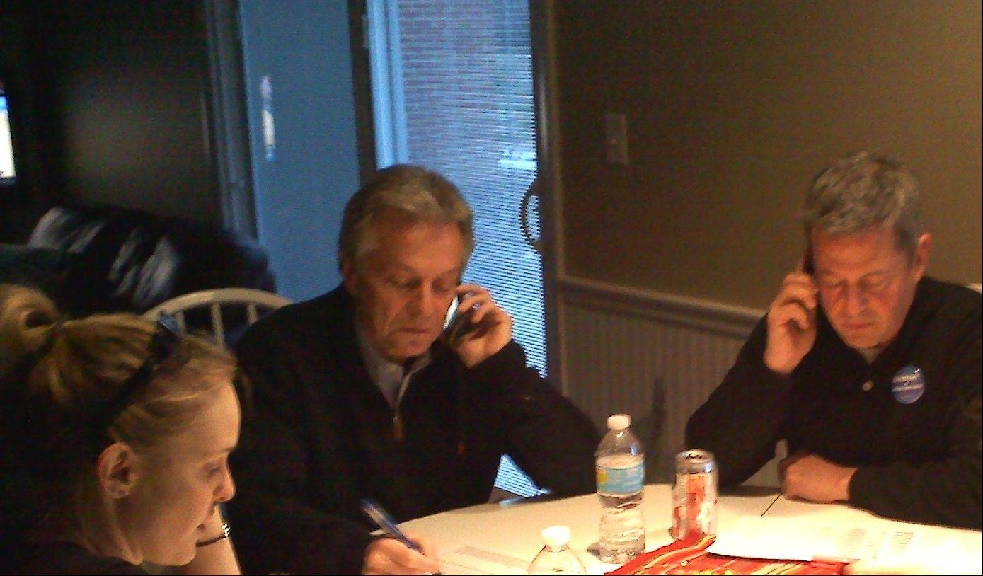Hellner and campaign volunteers work the phones, calling Arlington Heights residents with less than two weeks until Election Day.