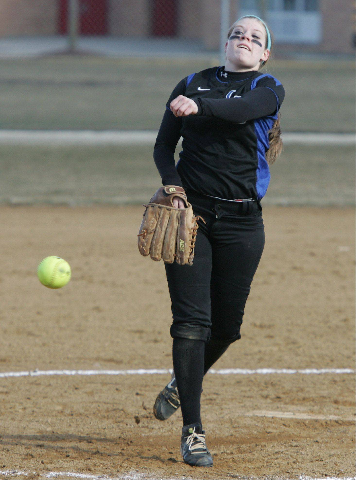 Gilbert R. Boucher II/gboucher@dailyherald.comLake Zurich pitcher Olivia Schneider delivers to Mundelein on Tuesday.