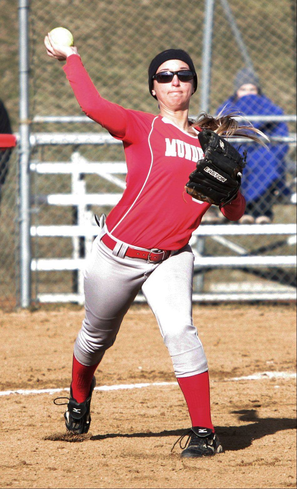 Mundelein third baseman Andrea Funteas throws to first base in the first inning Tuesday.