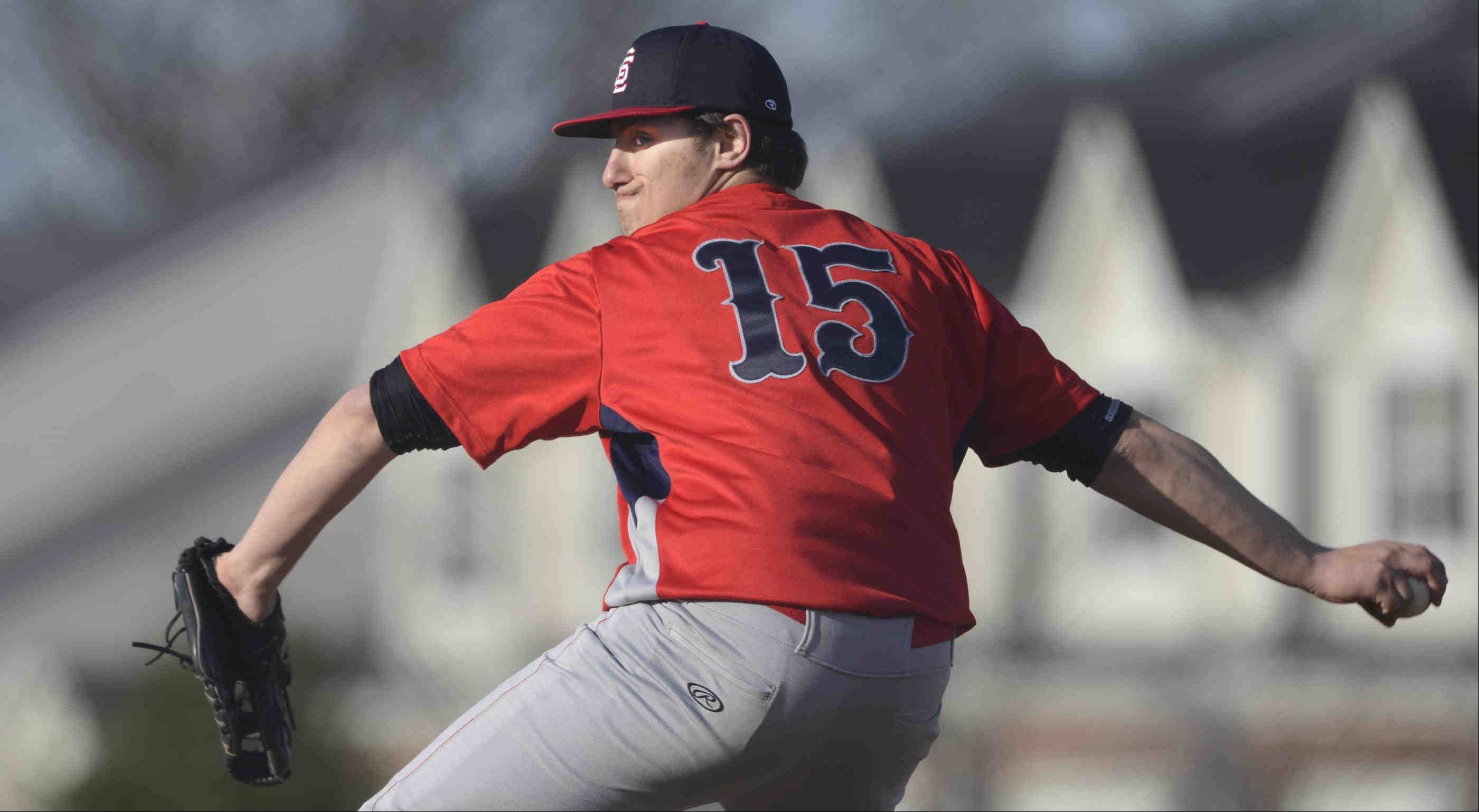South Elgin starting pitcher David Palmer delivers against Larkin Tuesday in South Elgin.