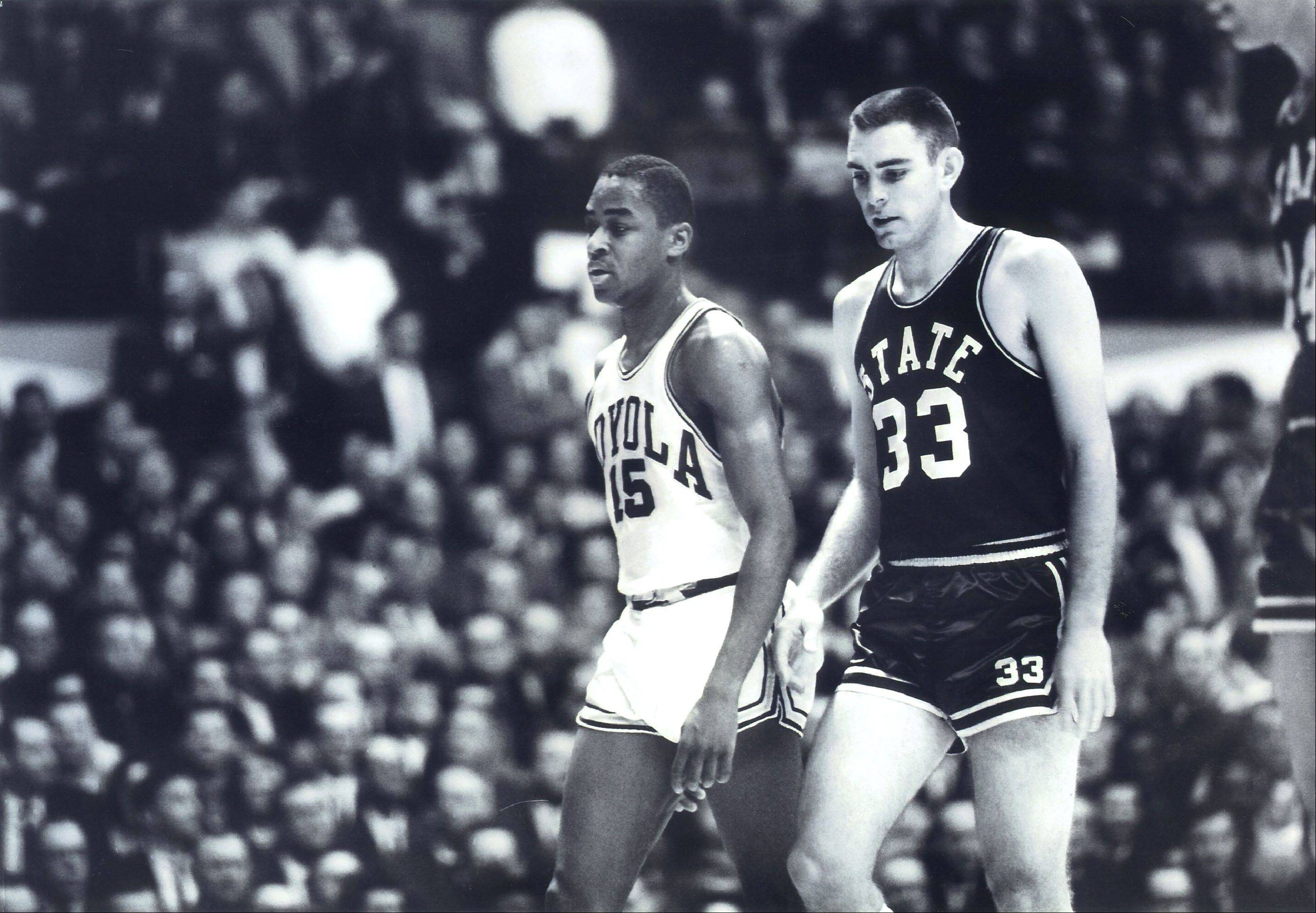Captains Jerry Harkness of Loyola and Joe Dan Gold of Mississippi State were the center of attention nearly fifty years ago when their two teams met in a 1963 NCAA regional game in East Lansing, Mich. It was the first time a Mississippi State team had played against blacks. The 1963 Loyola team is being inducted into the National Collegiate Basketball Hall of Fame in November.