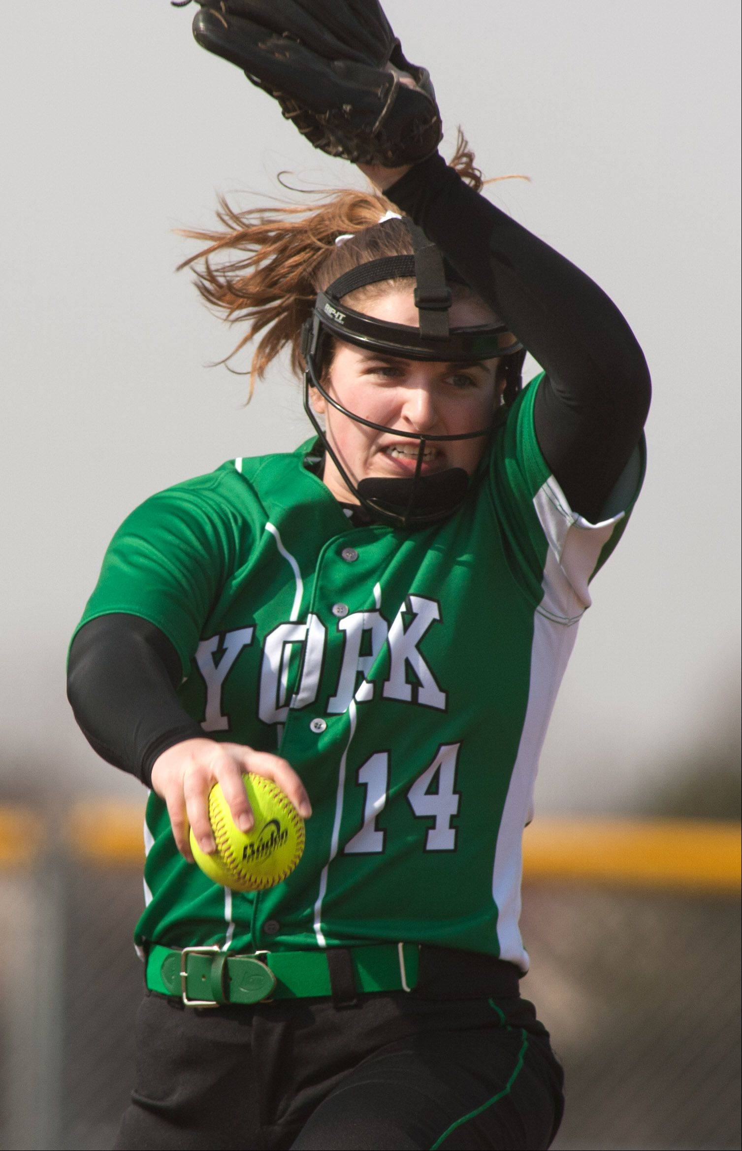 York's Elena Schwarz delivers a pitch against Glenbard North during girls softball action.