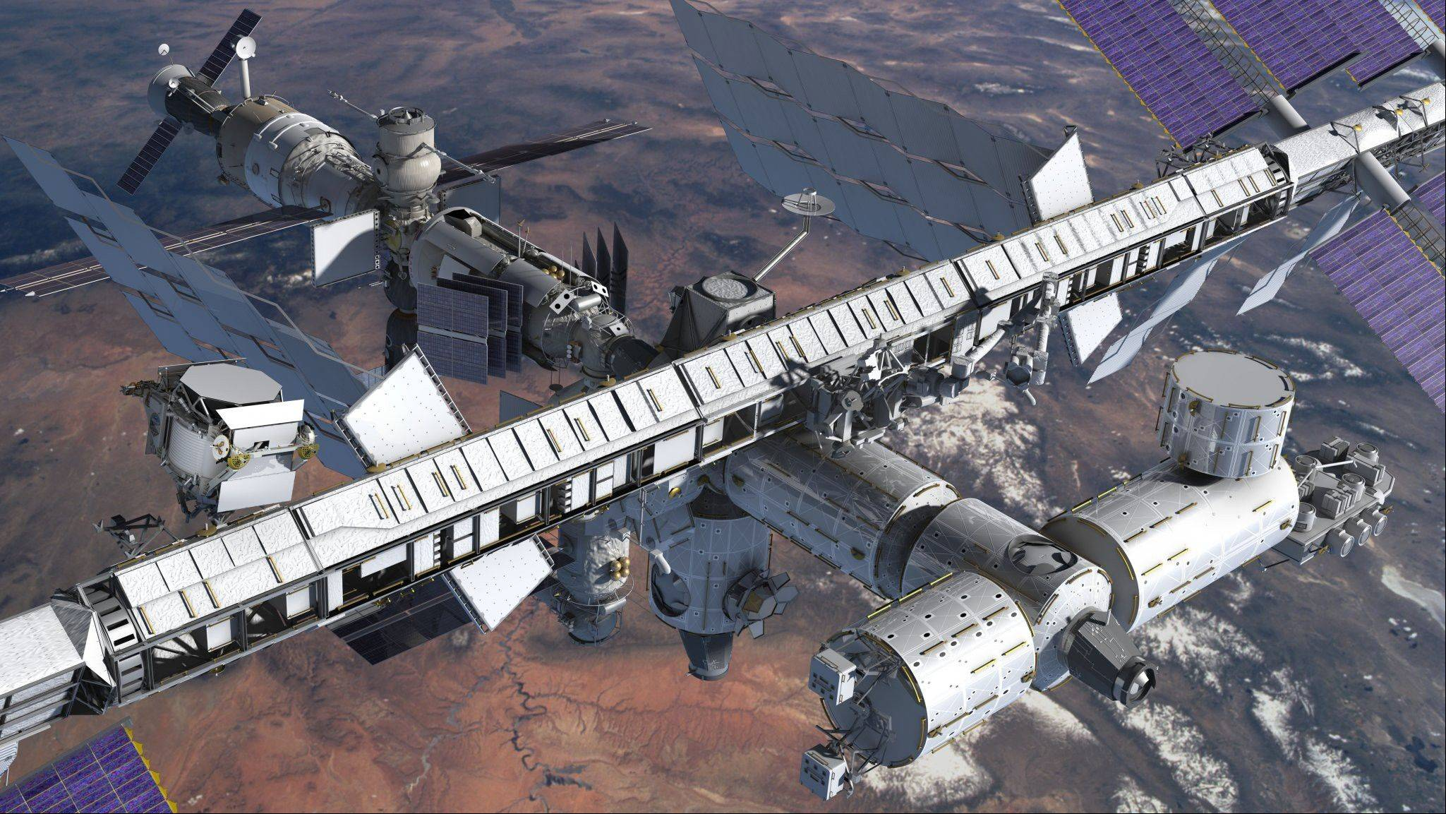 An artist�s concept of the Alpha Magnetic Spectrometer, rounded module at left, installed on the International Space Station provided by NASA. An international team of scientists says the cosmic ray detector has found the first hint of dark matter, which has never yet been directly observed.