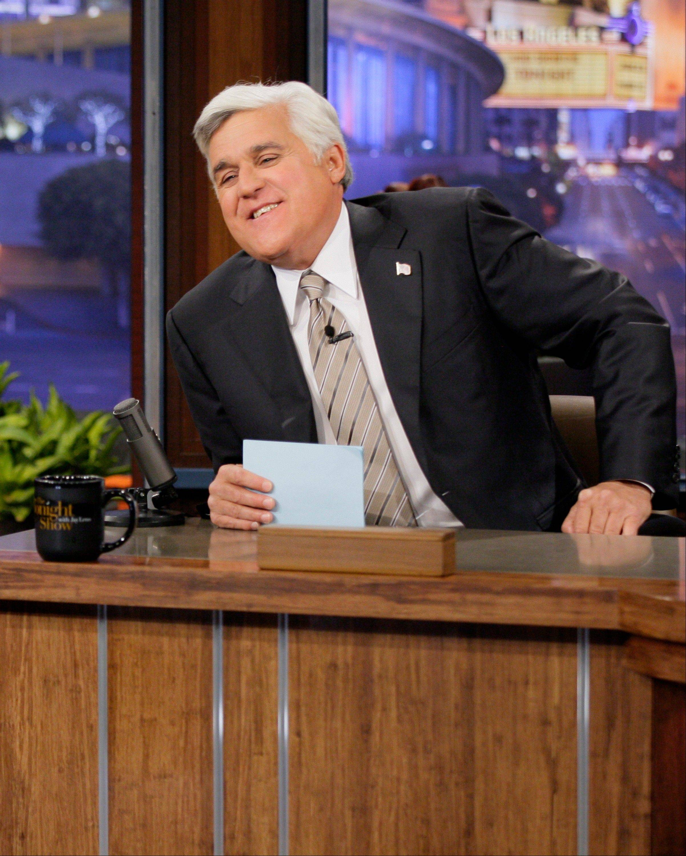 "Jay Leno, host of ""The Tonight Show with Jay Leno,"" on the set in Burbank, Calif. NBC announced Wednesday, April 3, 2013 that Jimmy Fallon is replacing Jay Leno as the host of ""The Tonight Show"" in spring 2014."