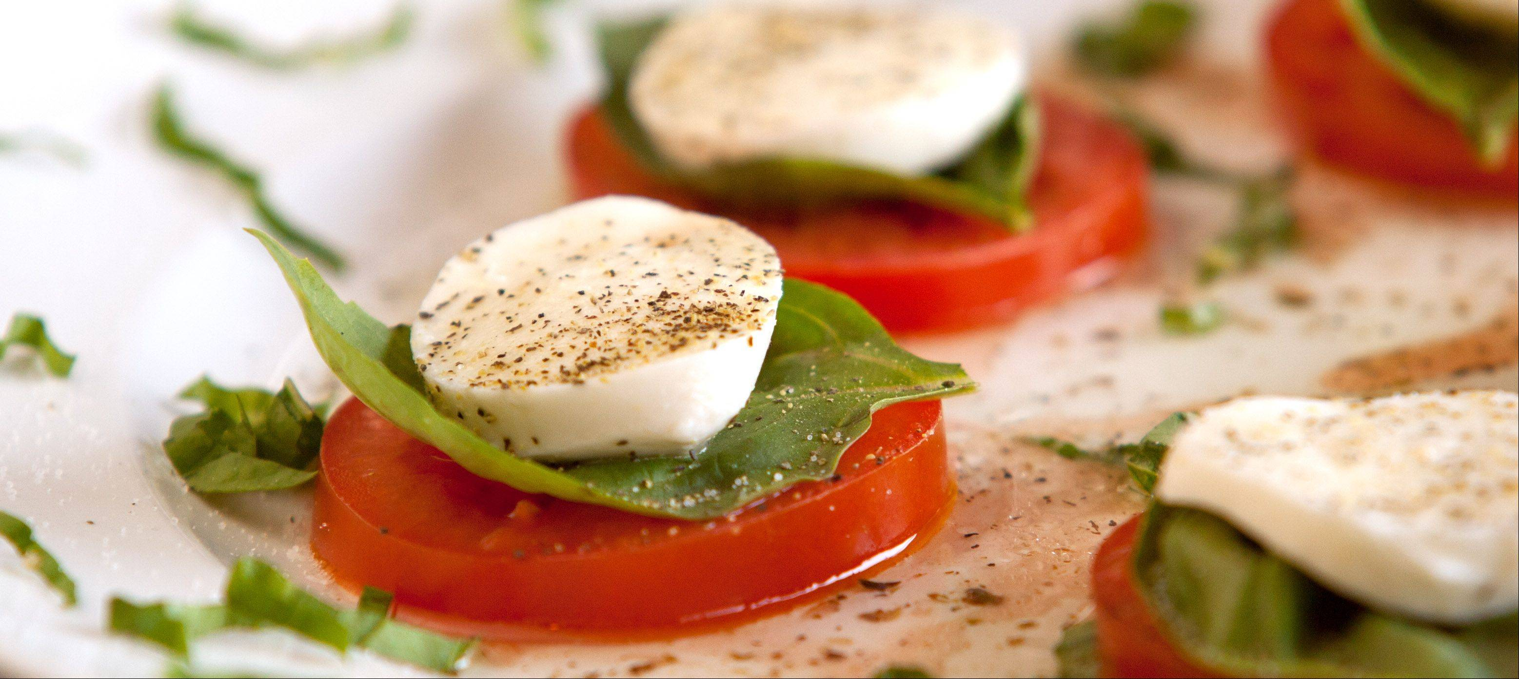 Caprese tomato, fresh basil and mozzarella is on the menu at Navarro's of Naperville.