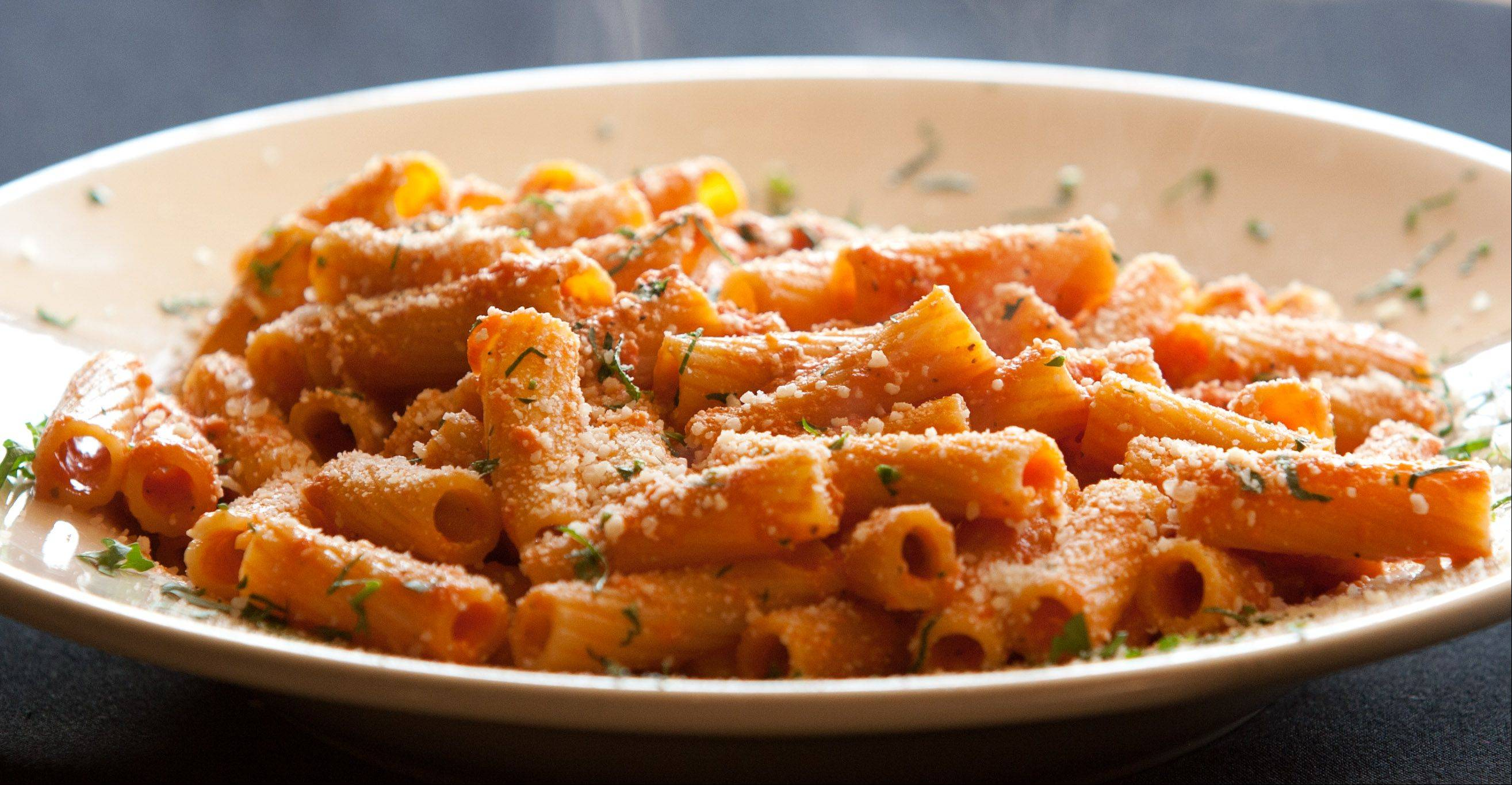 Rigatoni in vodka sauce is expertly prepared at Navarro's of Naperville, located downstairs at Country Lakes Golf Course.