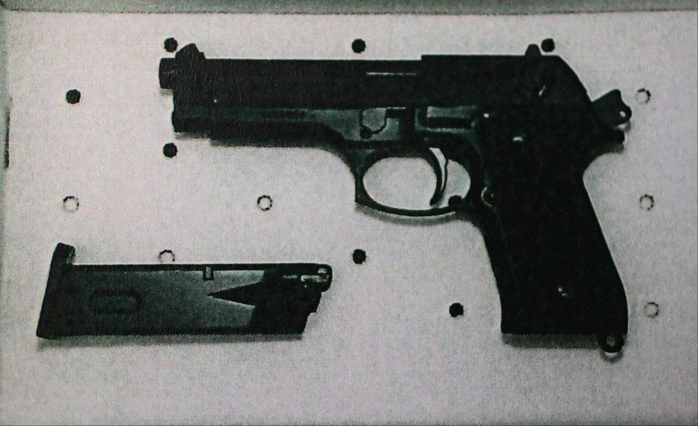 Authorities say Howard R. Lazarus of Mundelein walked into the Vernon Hills Police station early Wednesday and pulled this realistic-looking replica handgun on an officer.